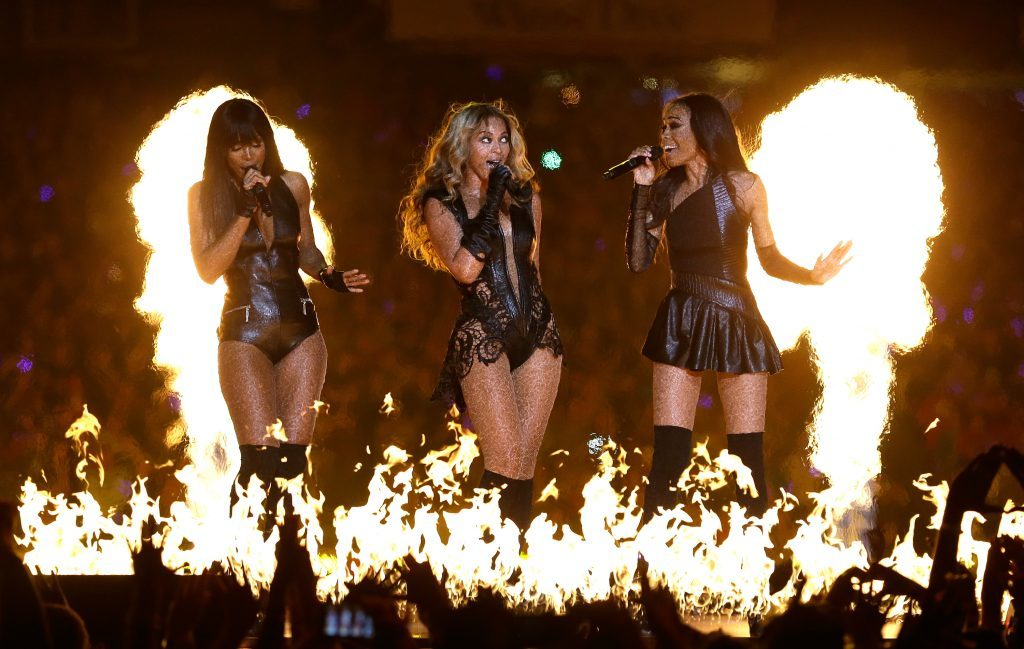 Beyonce flanked by Destiny's Child bandmates Kelly Rowland (left) and Michelle Williams (Ezra Shaw/Getty Images)