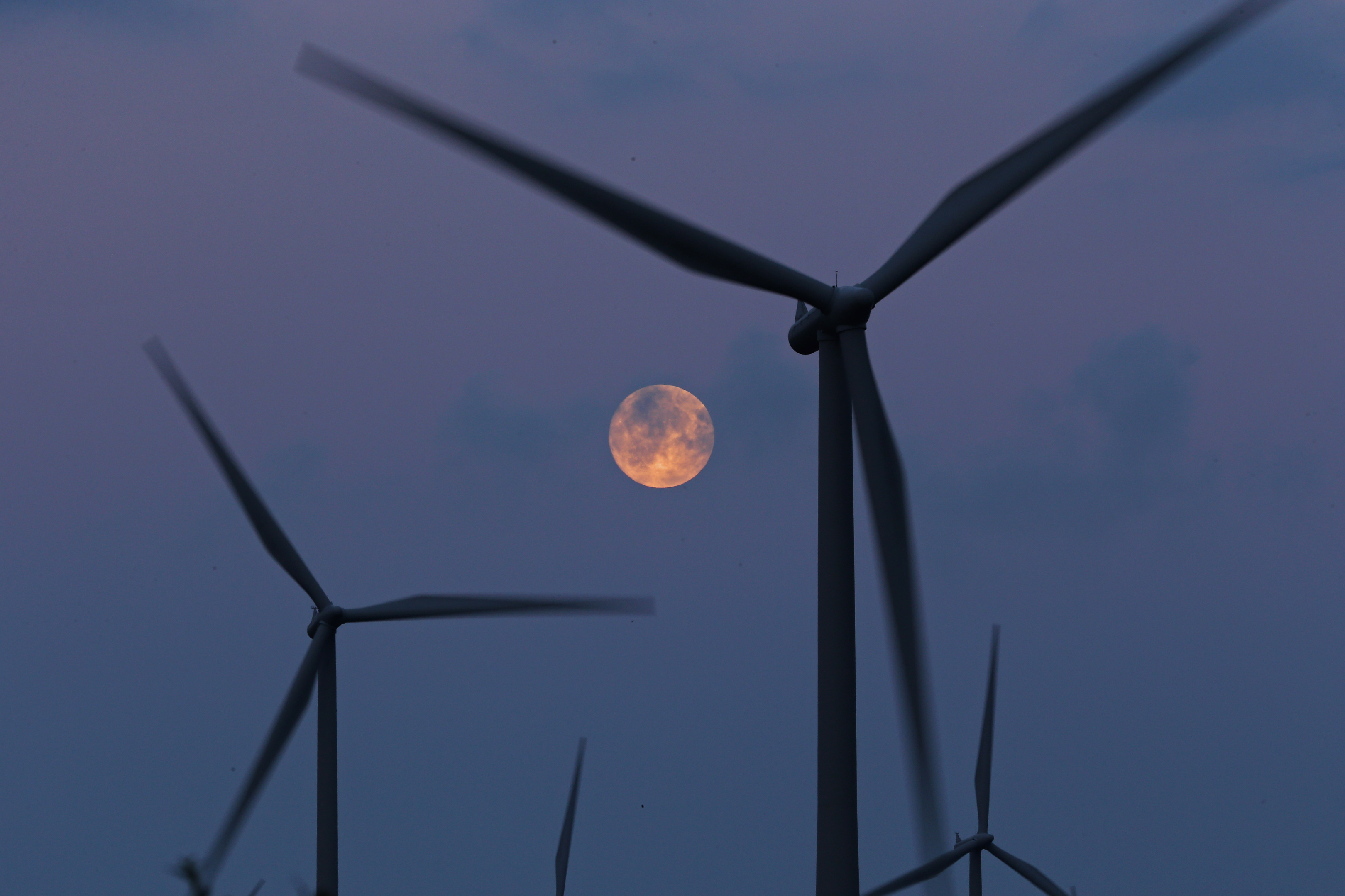 The moon rises behind the turbines of Whitelees Windfarm (Christopher Furlong/Getty Images)