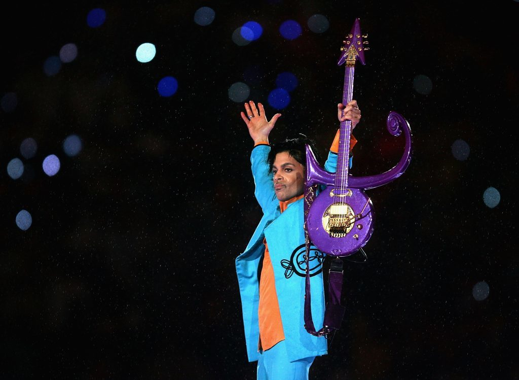 Prince at the Dolphin Stadium in Miami Gardens, Florida. (Jonathan Daniel/Getty Images)