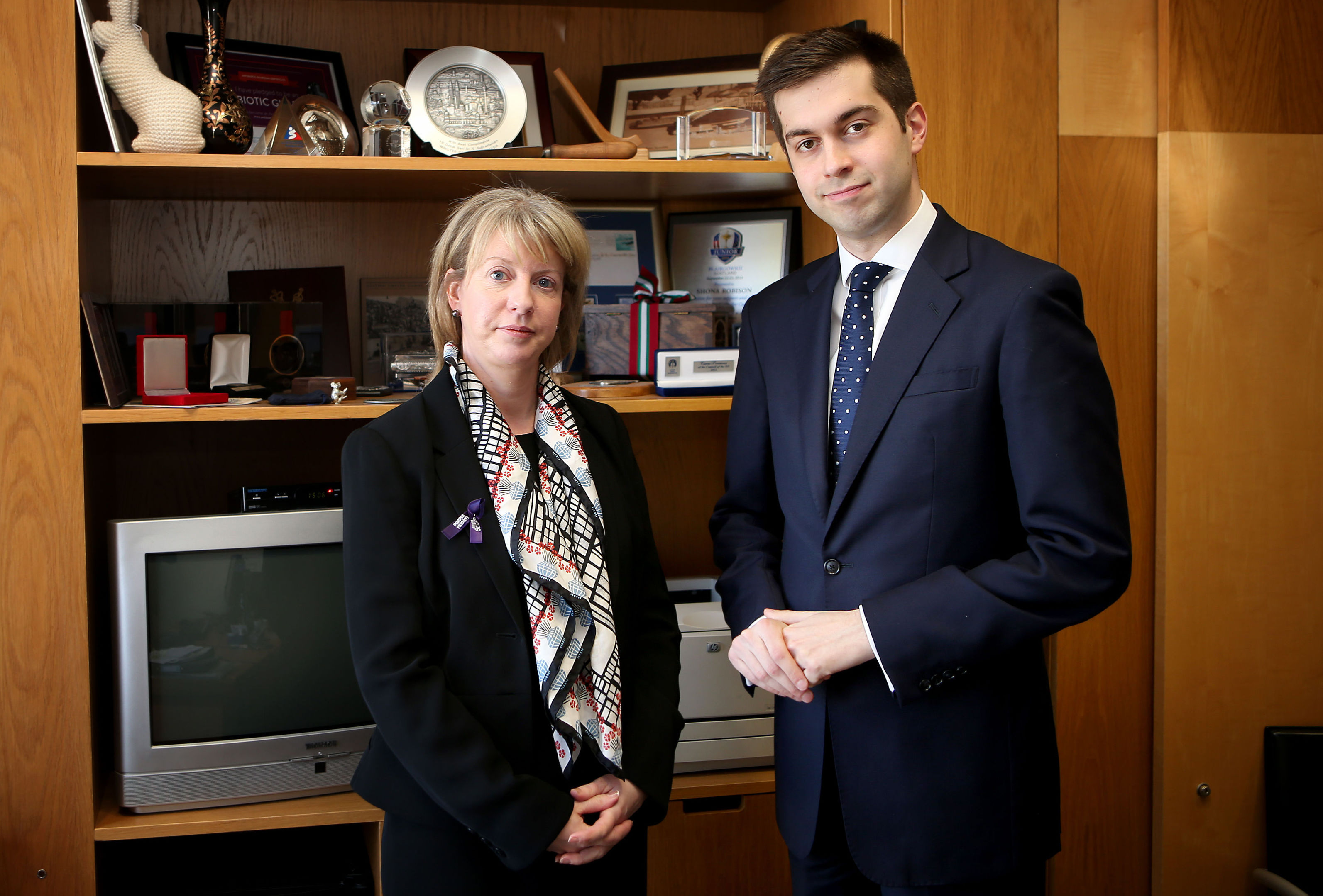 Health Secretary Shona Robison meets Joe Pike, husband of Gordon Aikman, at the Scottish Parliament, Edinburgh to announce a new £25,000 scholarship to support improvements in motor neurone disease (MND) care is to be set up (Jane Barlow/PA Wire)