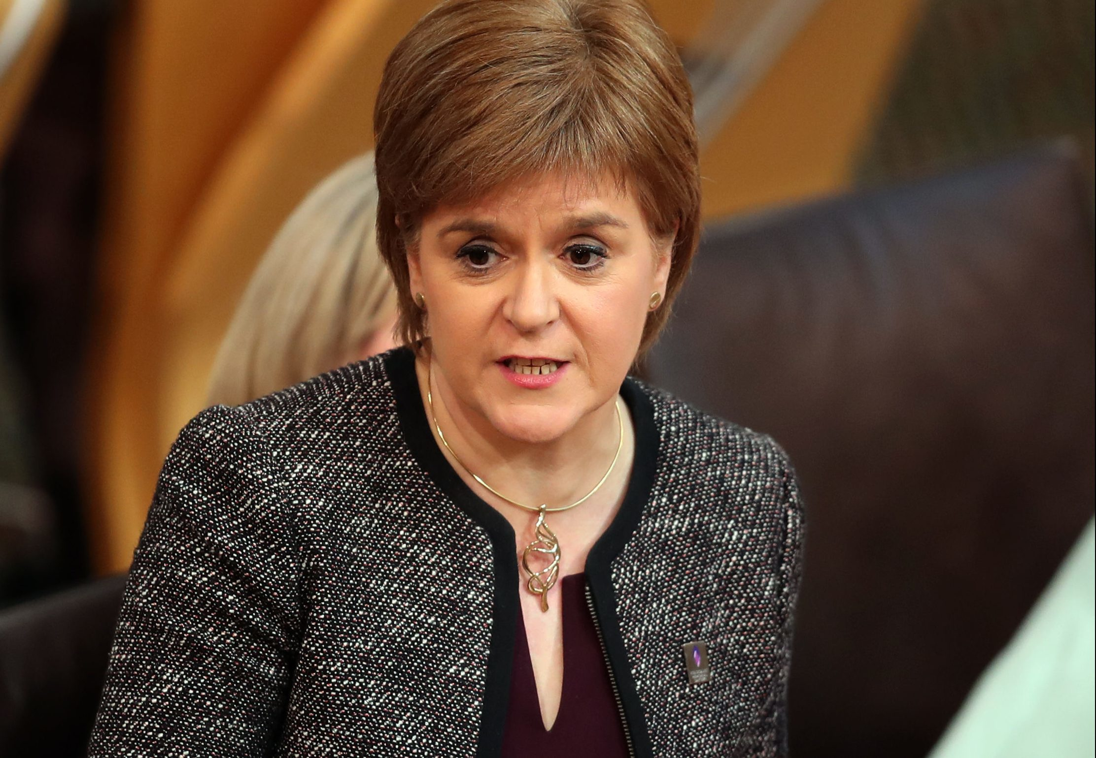 Scotland's First Minister Nicola Sturgeon during First Minister's Questions at the Scottish Parliament in Edinburgh.  (Jane Barlow/PA Wire)