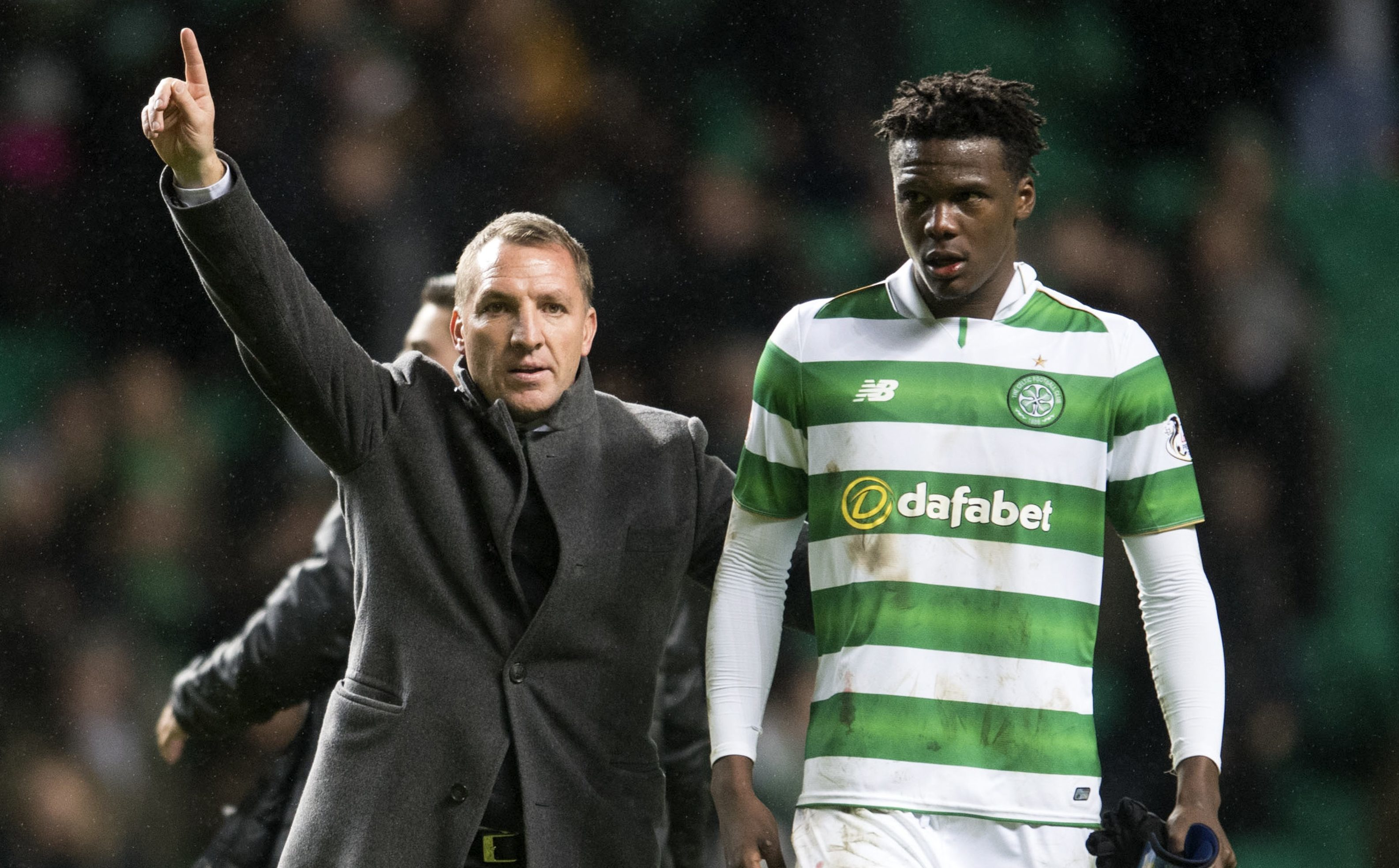 Celtic manager Brendan Rodgers (left) with Dedryck Boyata (SNS Group)