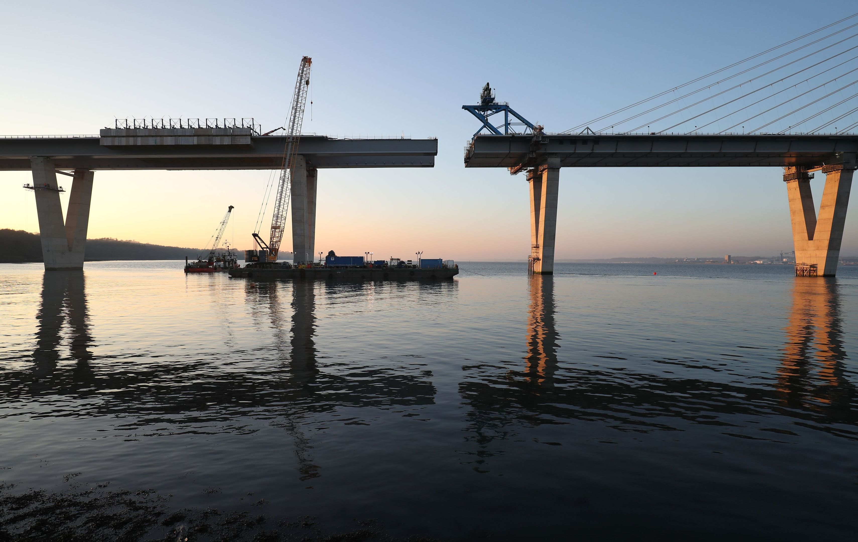 The main structure of the new Queensferry Crossing, over the Firth of Forth, which will be completed when the final section of the bridge is lifted into place (Jane Barlow/PA Wire)