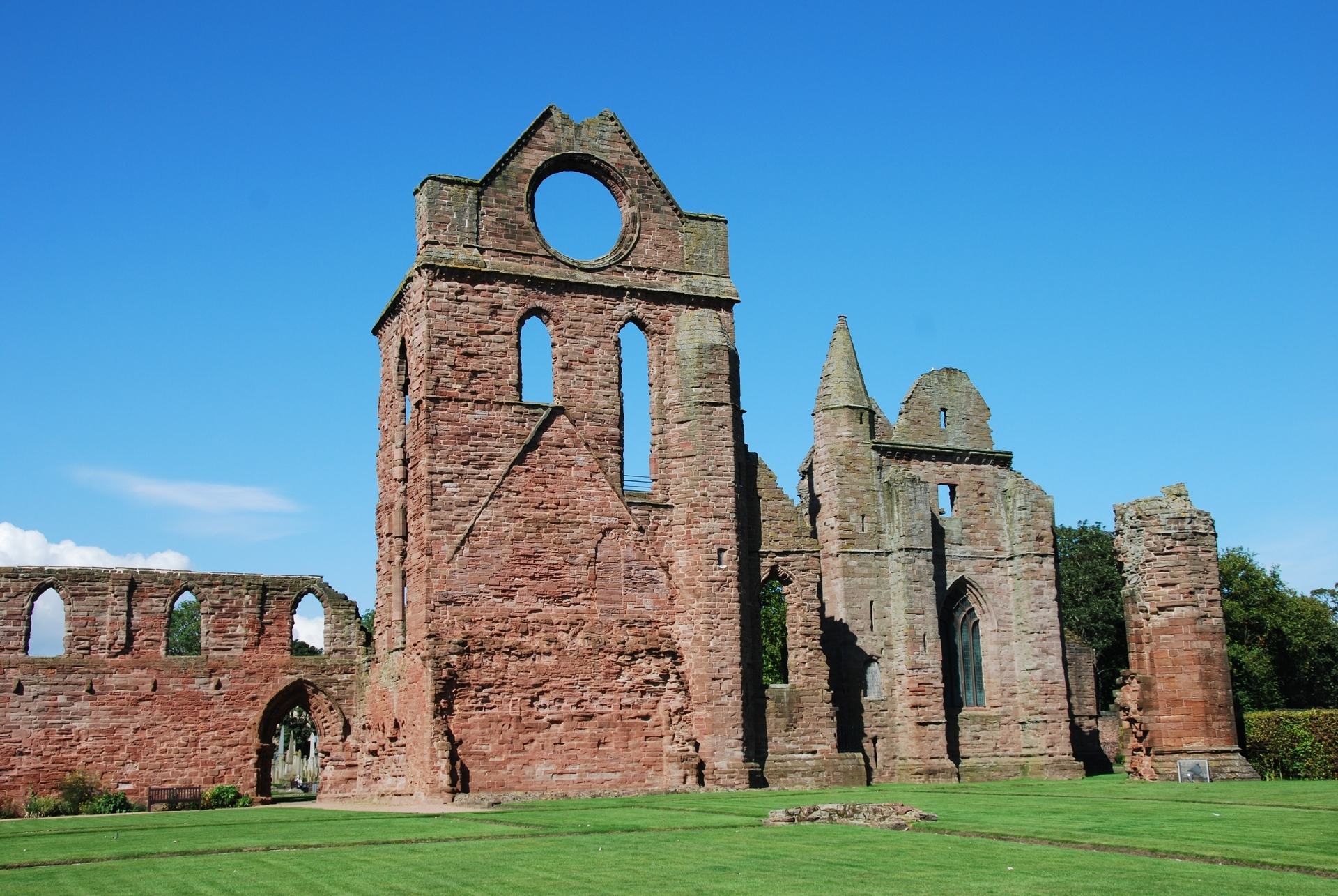 A view of the ruins of Arbroath abbey from the cloister