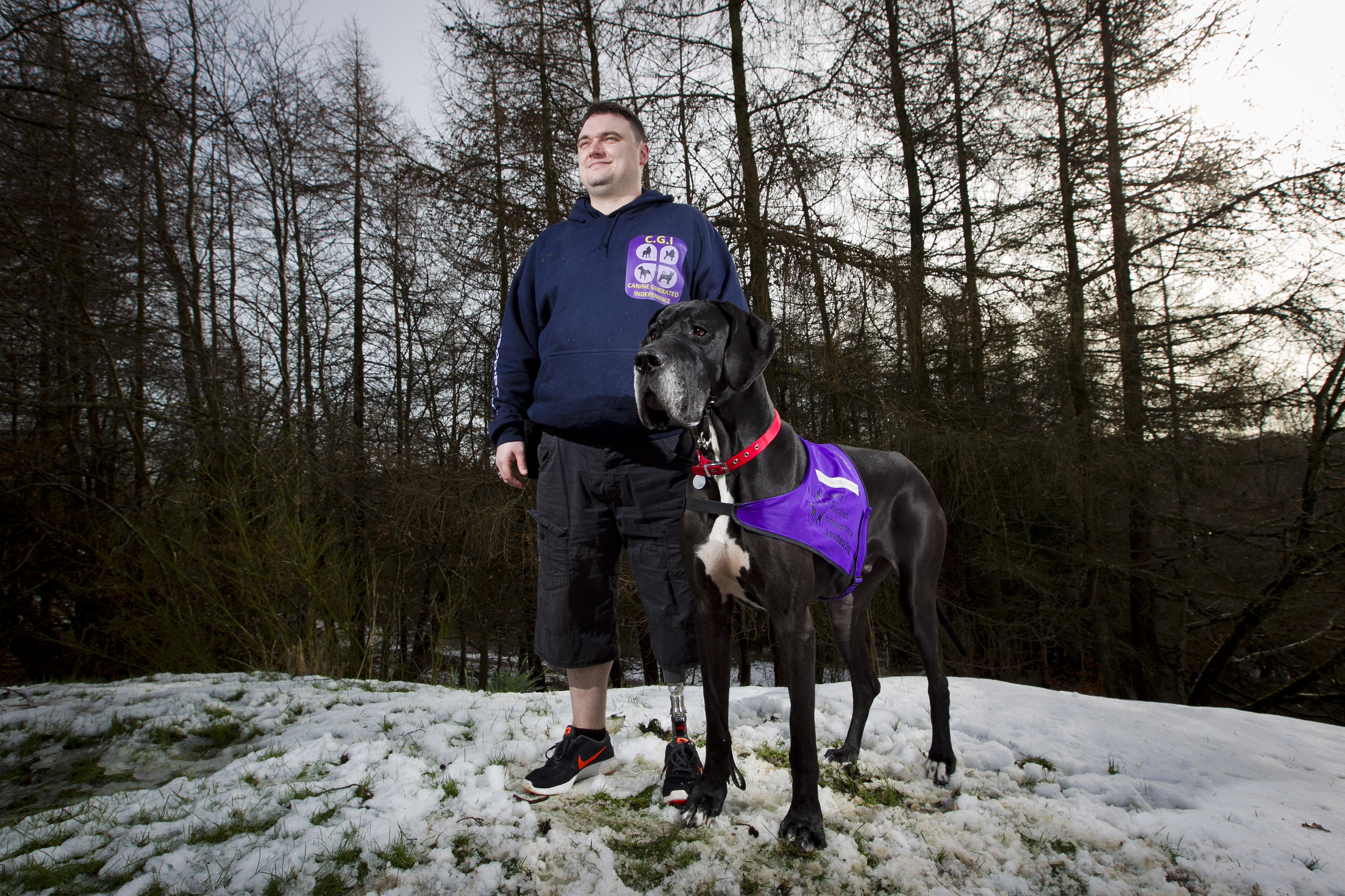 Michael Keane and his Great Dane Bruce (Andrew Cawley)
