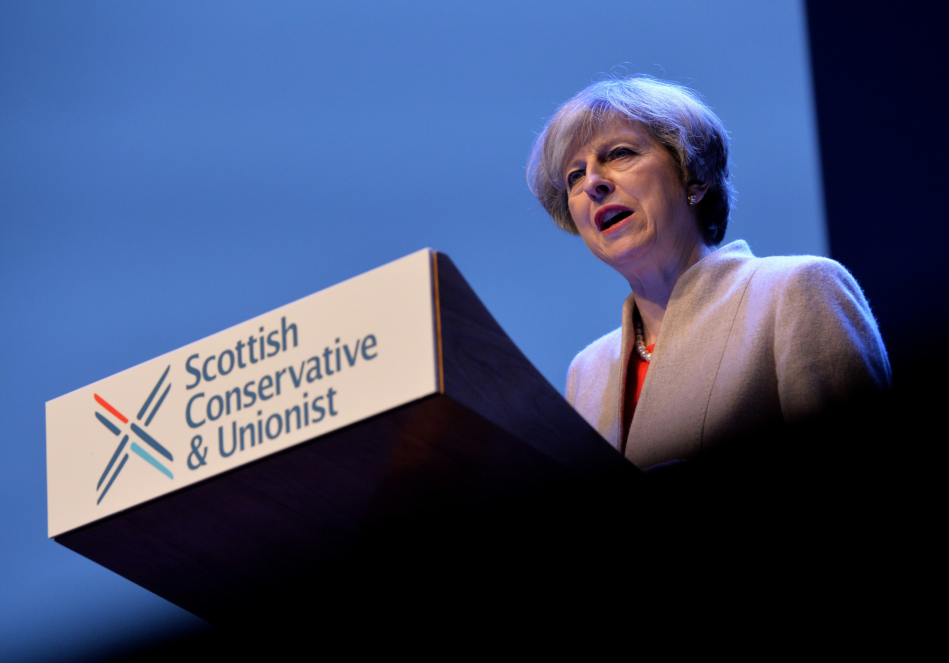 Prime Minister Theresa May speaks to delegates during the Scottish Conservatives Spring Conference (Mark Runnacles/Getty Images)