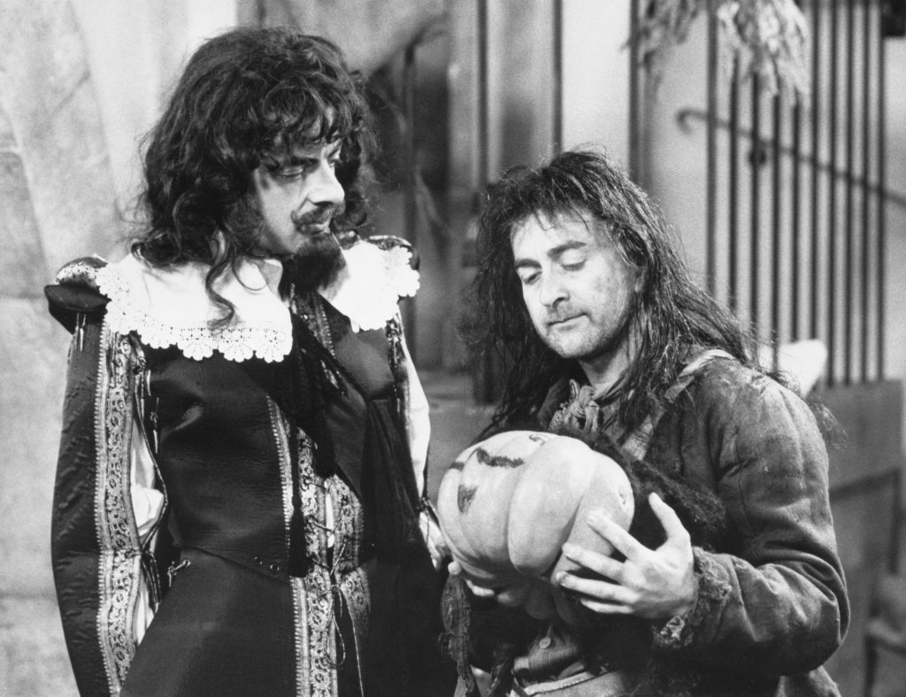 Tony as Baldrick (right) with Rowan Atkinson in Blackadder