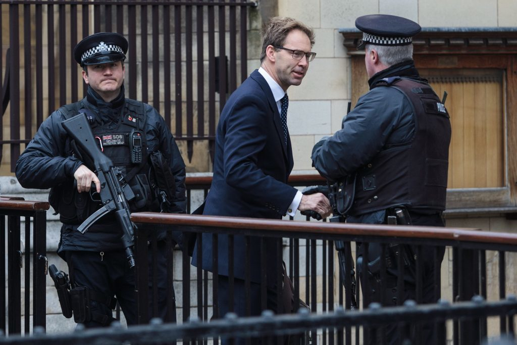 Tobias Ellwood, seen here returning to Westminster after the attack, was pictured giving first aid to PC Keith Palmer (Jack Taylor/Getty Images)