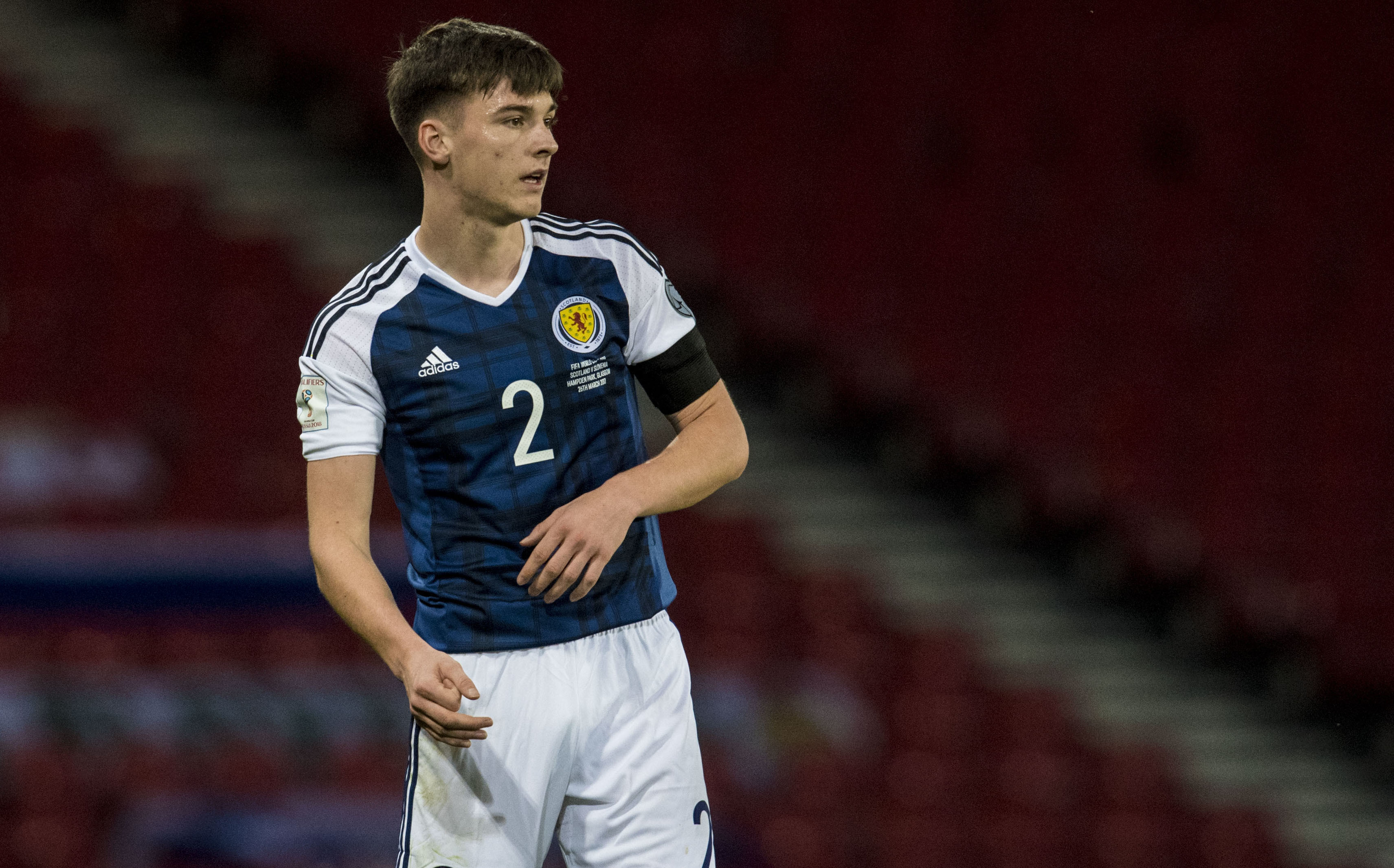 Kieran Tierney in action for Scotland against Slovenia (SNS Group / Alan Harvey)