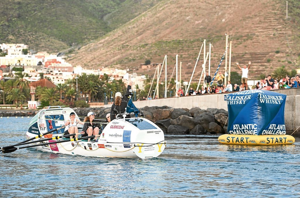The Yorkshire Rows team start the Talisker Atlantic Challenge 2015 from La Gomera in the Canary Islands.
