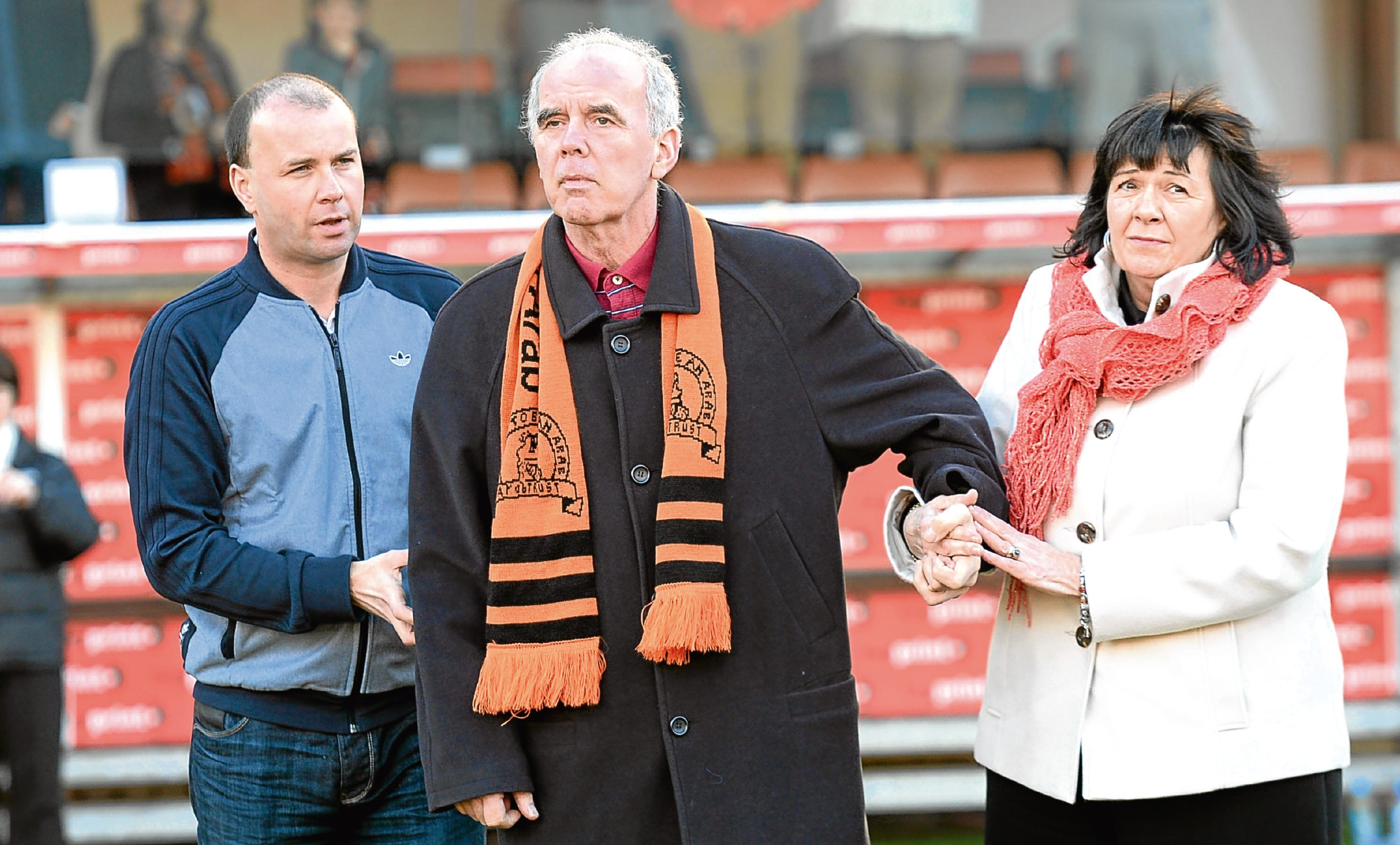 Ex-Dundee Utd ace Frank Kopel, and wife Amanda, make an appearance on the pitch at half time as part of the Frank Kopel Alzheimer's Awareness Campaign