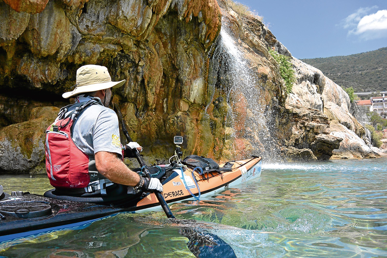 Huw kayaking in Evia, Greece