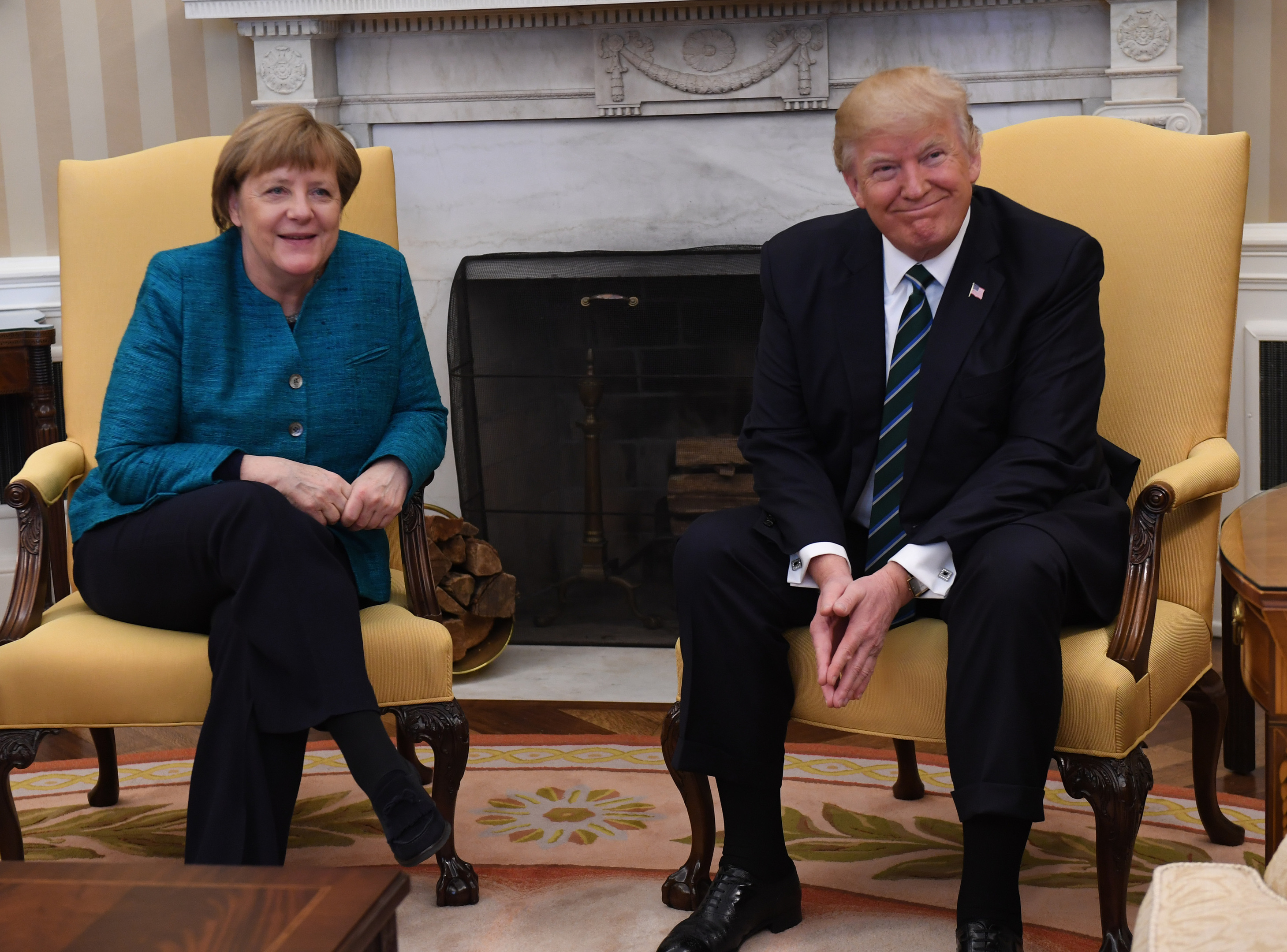 German Chancellor Angela Merkel meets with U.S. President Donald Trump in the Oval Office of the White House on March 17, 2017 in Washington, DC. (Pat Benic-Pool/Getty Images