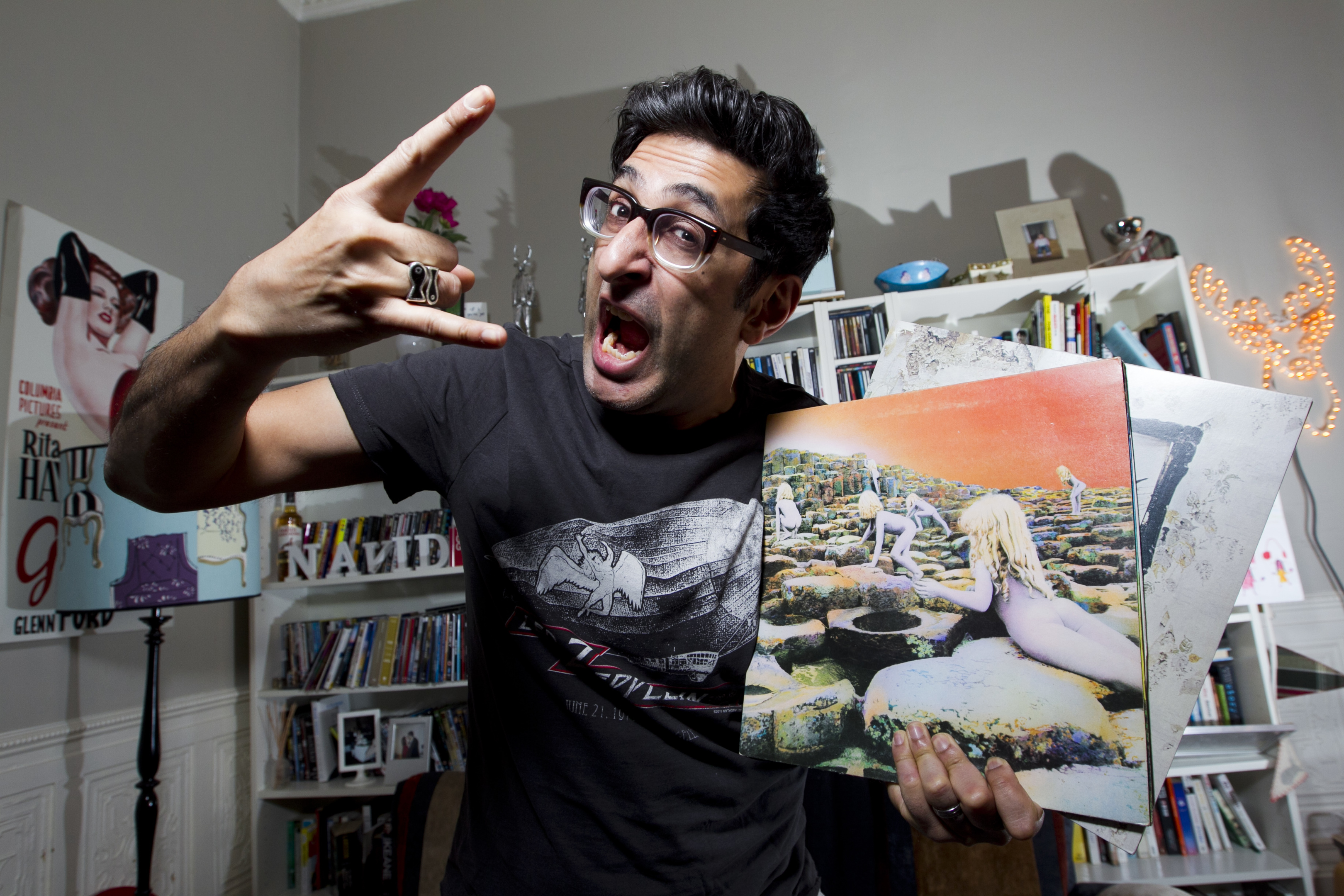Sanjeev Kohli, with his Led Zeppelin vinyl and t-shirt (Andrew Cawley / DC Thomson)