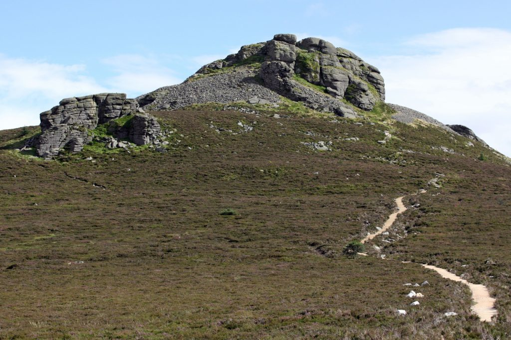 The Mither Tap at the top of the mountain of Bennachie near Inverurie, Aberdeenshire, Scotland, UK, showing the granite plug