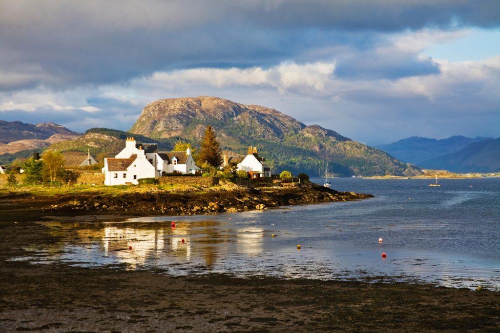 Plockton village at low tide, west coast of Scotland