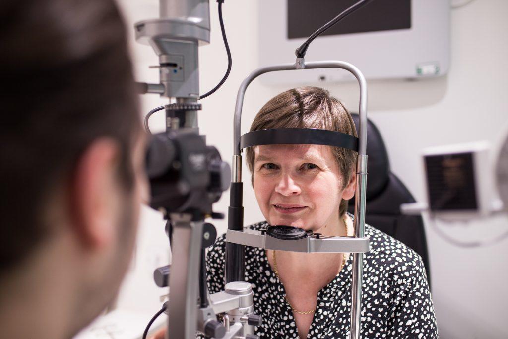 Marion Coull has her eyes tested at Vision Express Braehead (Martin McLellan / McLellan Photography)