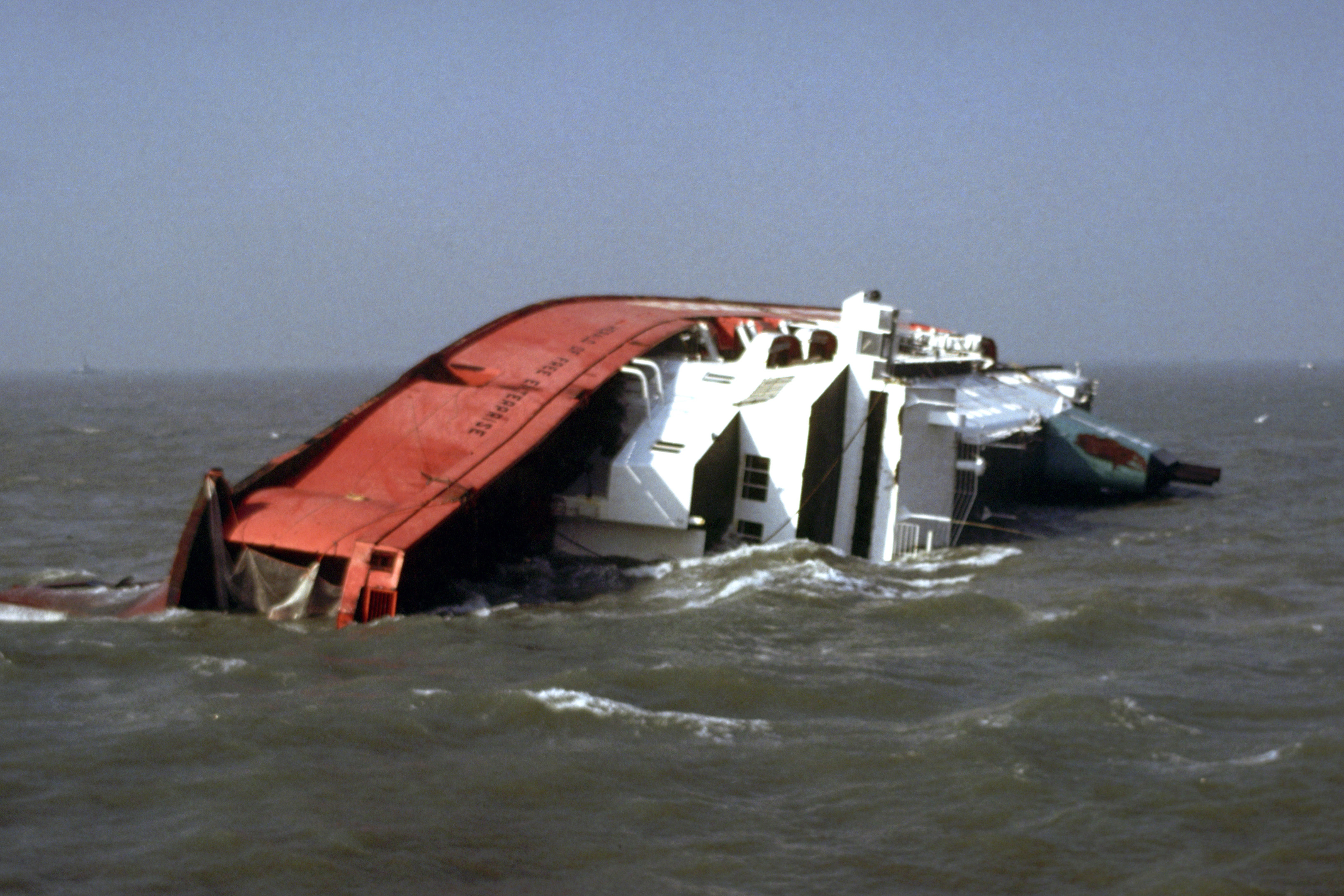 The Townsend Thorensen car ferry Herald of Free Enterprise, which capsized near the entrance to Zeebrugge Harbour, Belgium, on its way to Dover. (PA)