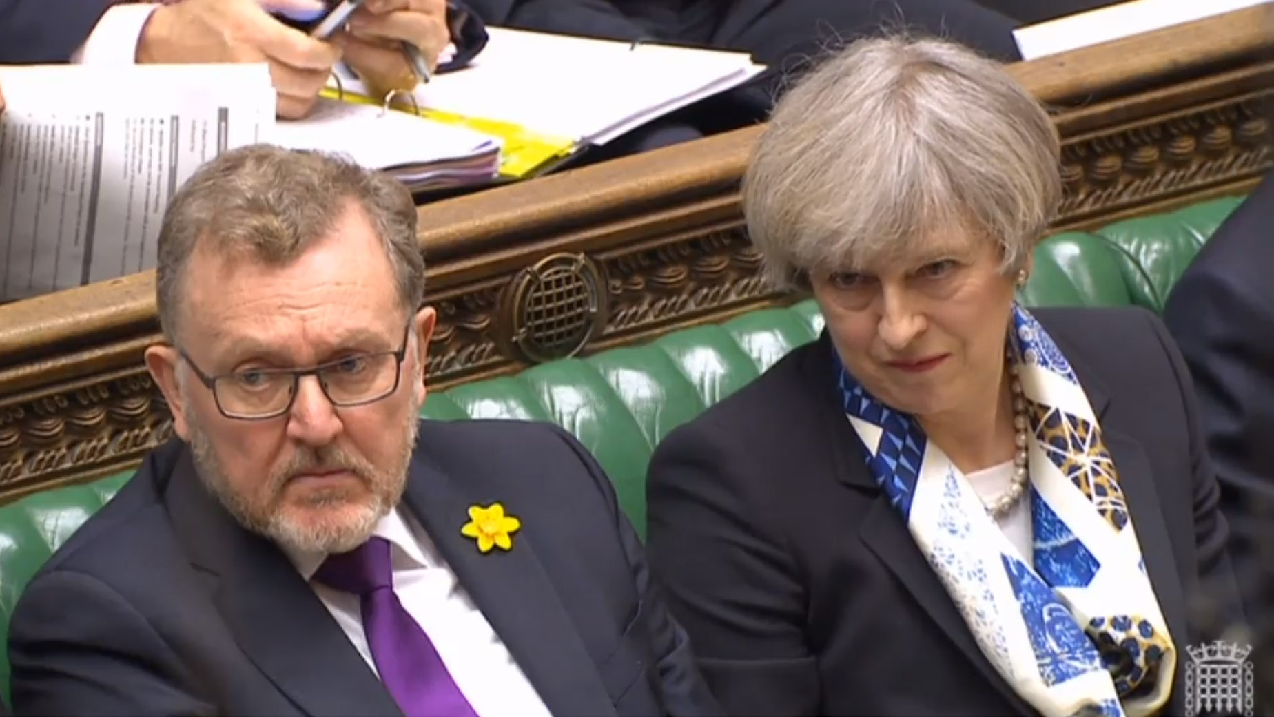 Prime Minister Theresa May and Scottish Secretary David Mundell during Prime Minister's Questions in the House of Commons, London. (PA Wire)
