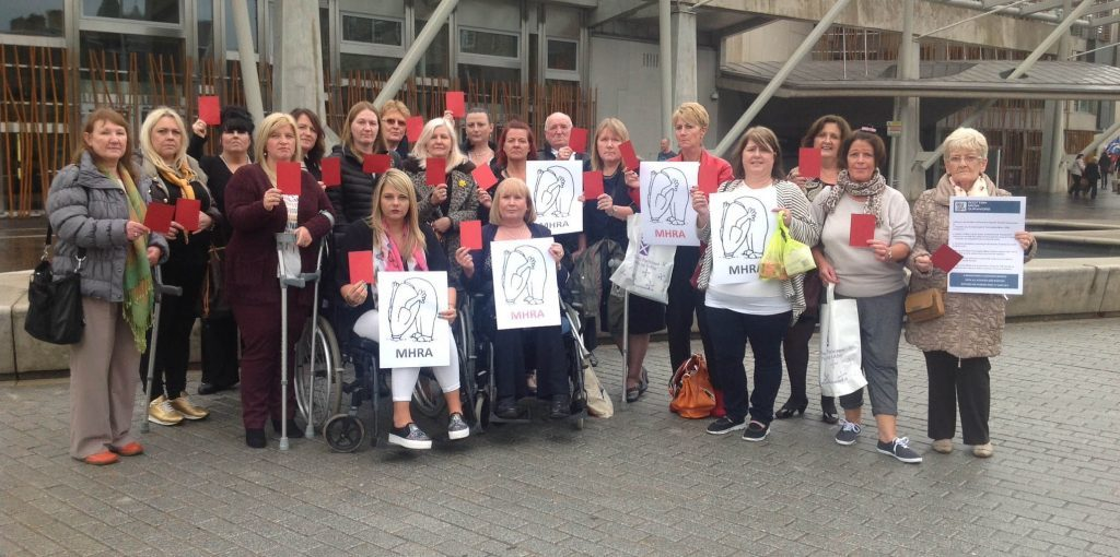 A group of campaigners who are lobbying against the use of mesh in surgical operations at the scottish parliament