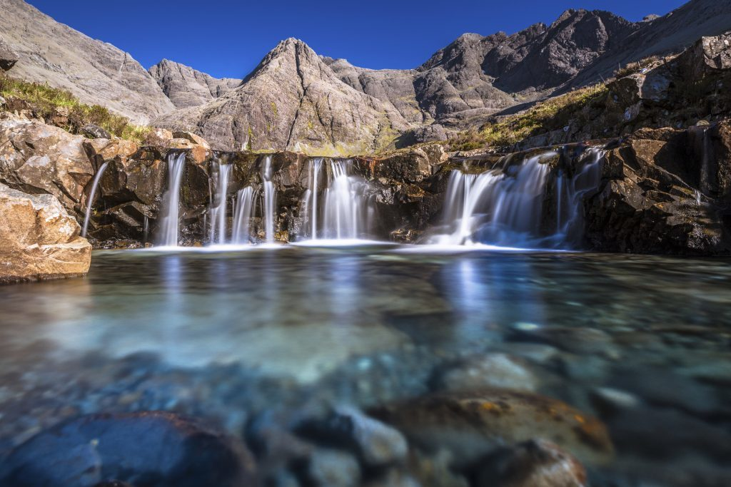 Turquoise pools, also called Fairy Pools, in Isle of Skye, Scotland, iStock)