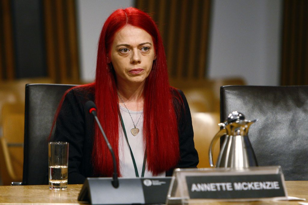Annette McKenzie appeared before the Public Petitions Committee to give evidence on her petition call in for change on perental consent for mental health treatment for people under 18 years of age. (Andrew Cowan/Scottish Parliament)