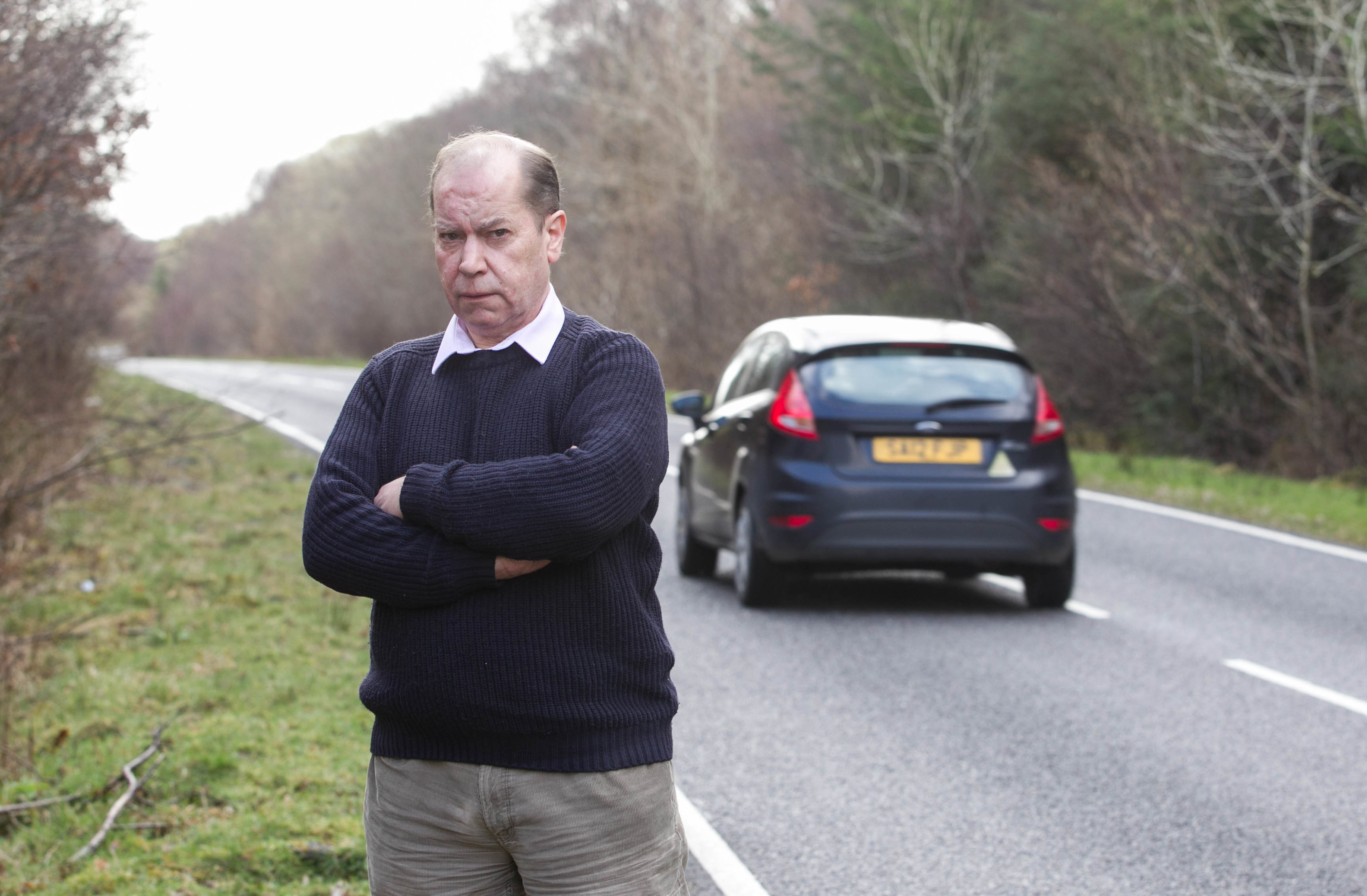 Charles Pease at the crash site where his partner and Mull's only vet Theresa Wade was killed by Thomas Wainright who was drunk and driving at 95mph in his hired Masaratti (Sunday Post)