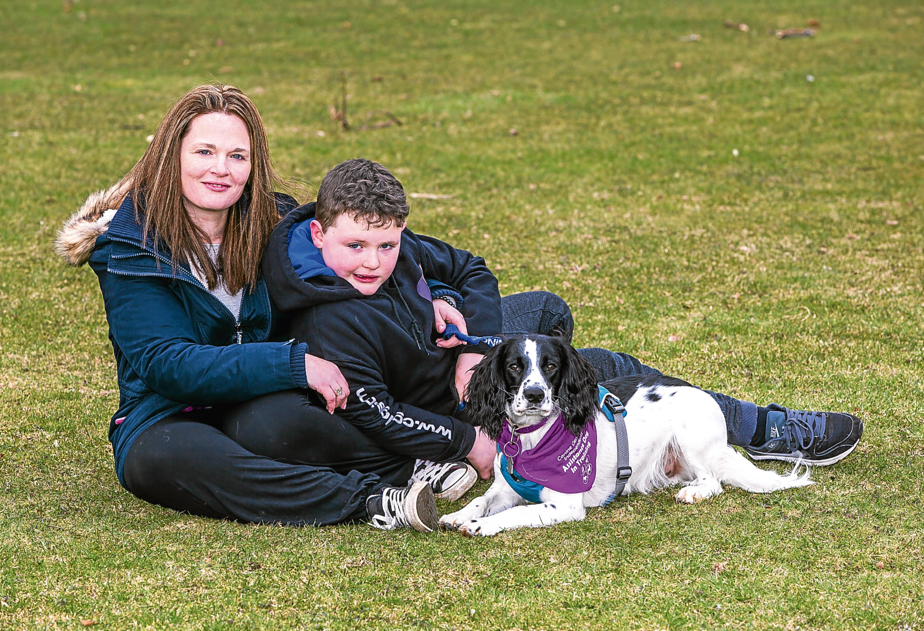 Stuart Moir from Alford, Aberdeenshire with mum Lisa and dog Jess. (Simon Price/Firstpix)