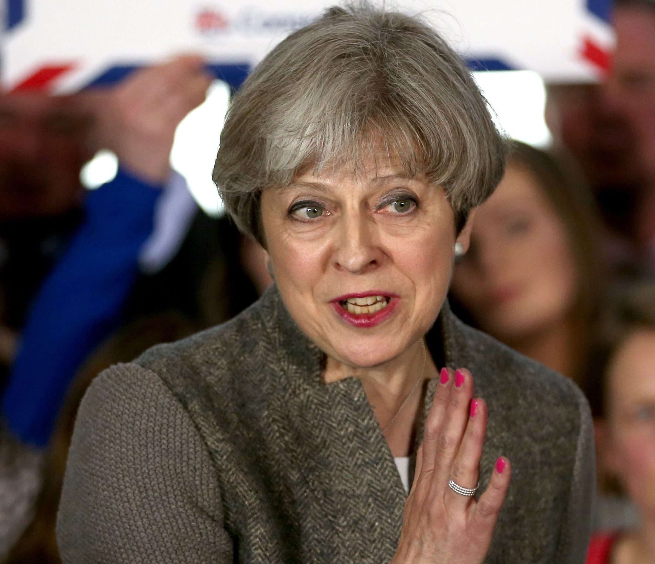 Prime Minister Theresa May delivers a speech while on the election campaign trail in the village of Crathes, Aberdeenshire (Jane Barlow/PA Wire)