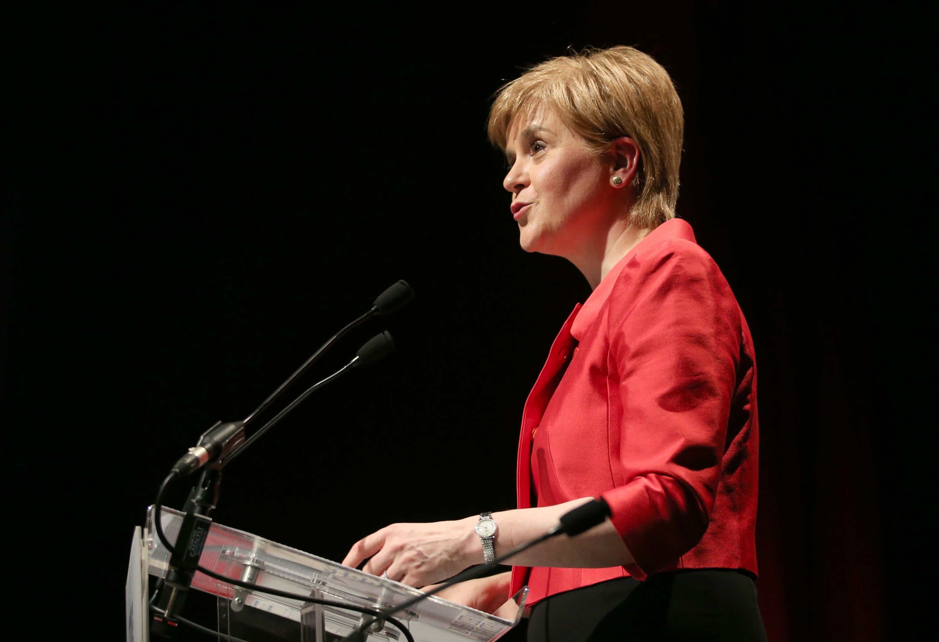 SNP leader Nicola Sturgeon speaks at the STUC conference in Aviemore. (Jane Barlow/PA Wire)