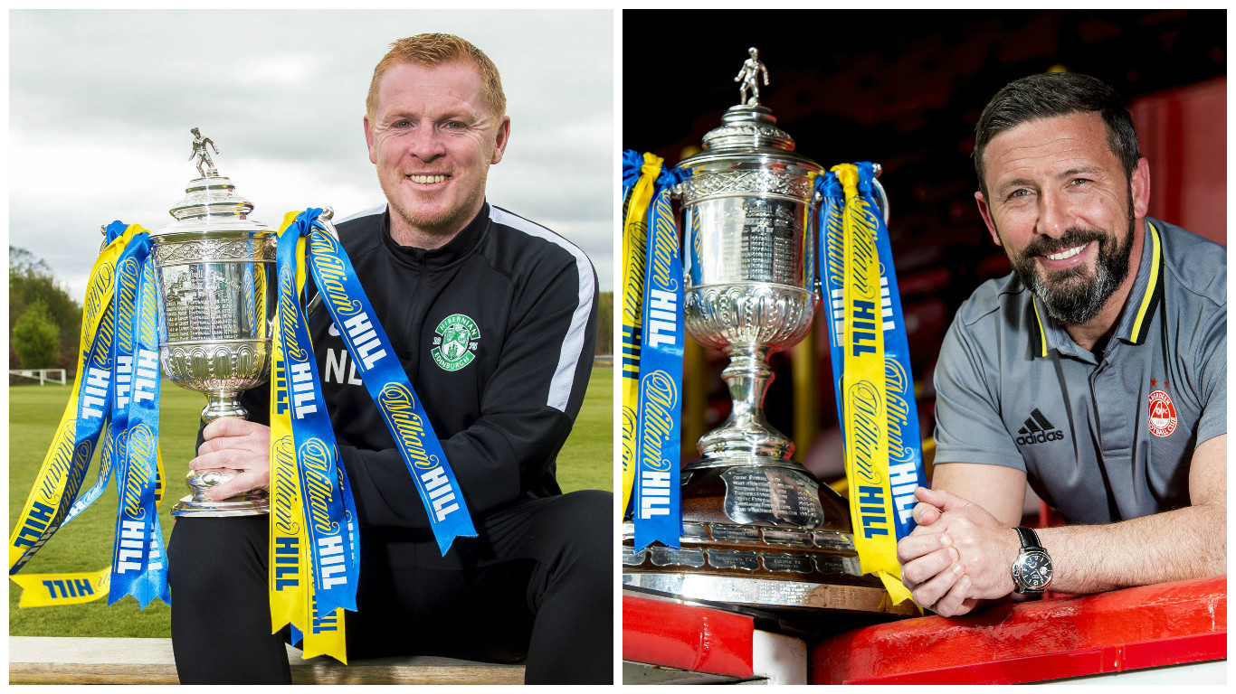 Neil Lennon and Derek McInnes get their hands on the trophy (SNS Group / Bill Murray & Craig Williamson)