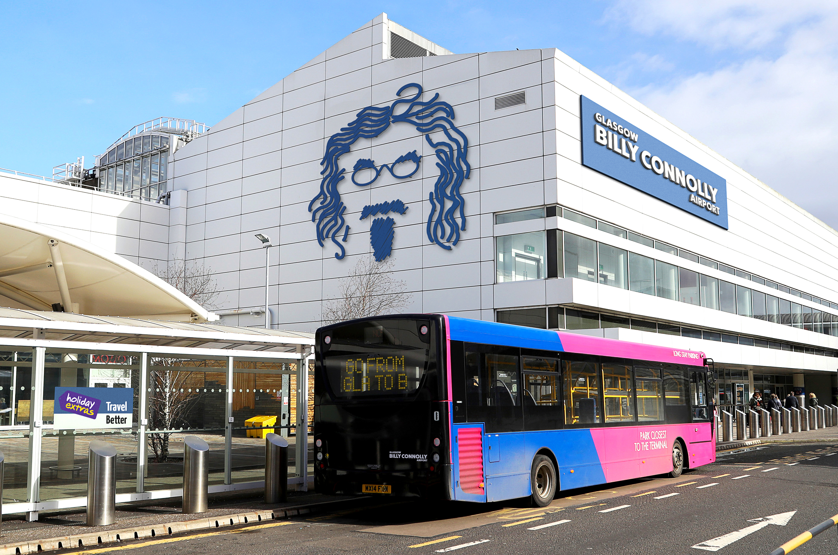 Glasgow Airport Billy Connolly mock-up (Professional Images/@ProfImages)