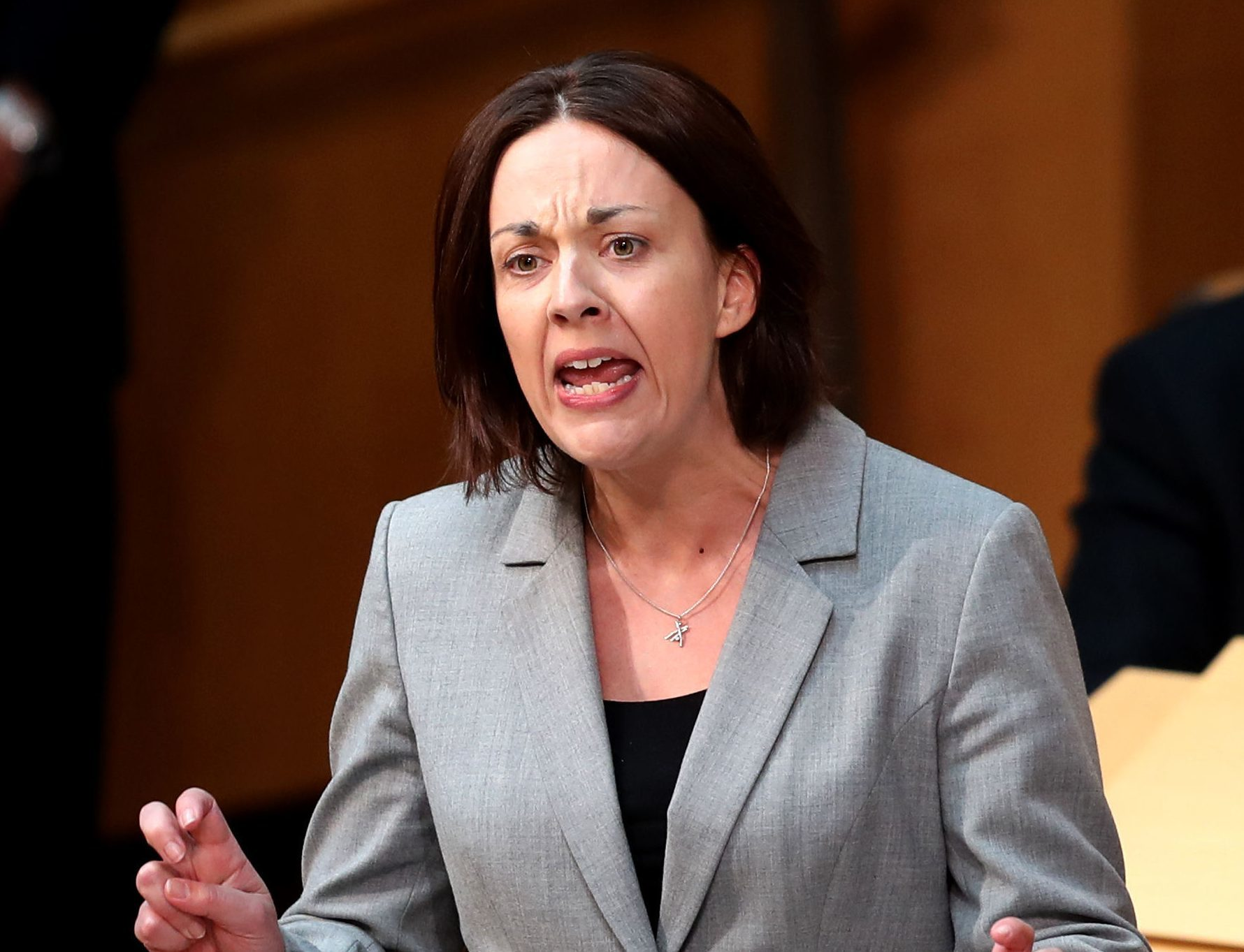 """Scottish Labour leader Kezia Dugdale, in the main chamber of the Scottish Parliament, Edinburgh, during the debate against the UK Government's so-called """"rape clause"""" for tax credits. (Jane Barlow/PA Wire)"""