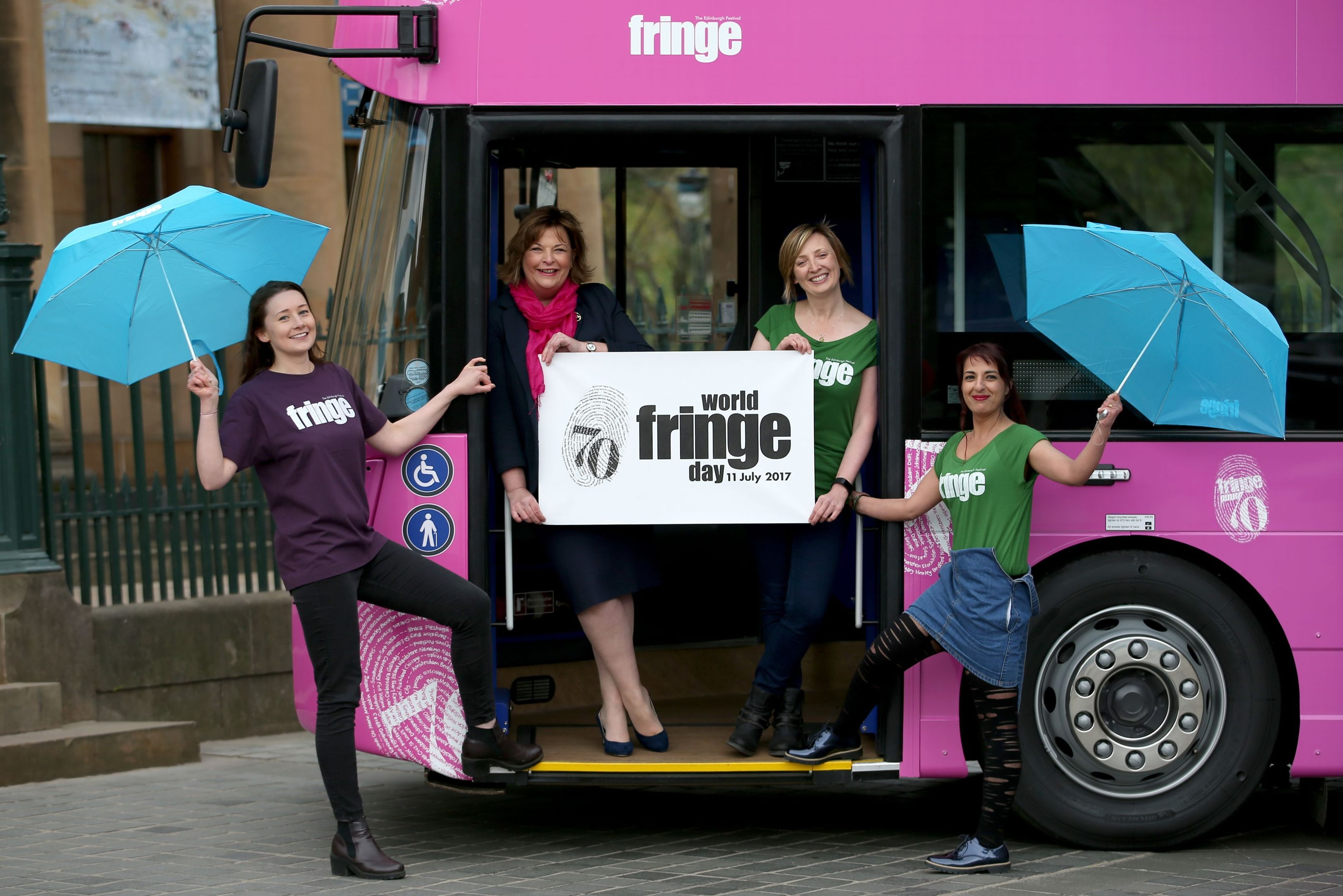 Rachael Cowie (left), Elizabeth Burchill (second right) and Navida Galbraith (right) from the Edinburgh Festival Fringe Society with Cabinet Secretary for Culture, Tourism and External Affairs Fiona Hyslop (second left), help launch the inaugural World Fringe Day in Edinburgh. 7. (Jane Barlow/PA Wire)
