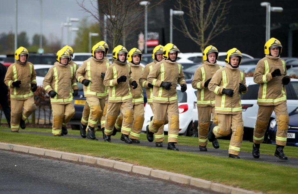 The recruits were taken on by the Scottish Fire and Rescue Service on January 9, the largest single intake since the single service began in 2013 (Jane Barlow/PA Wire)