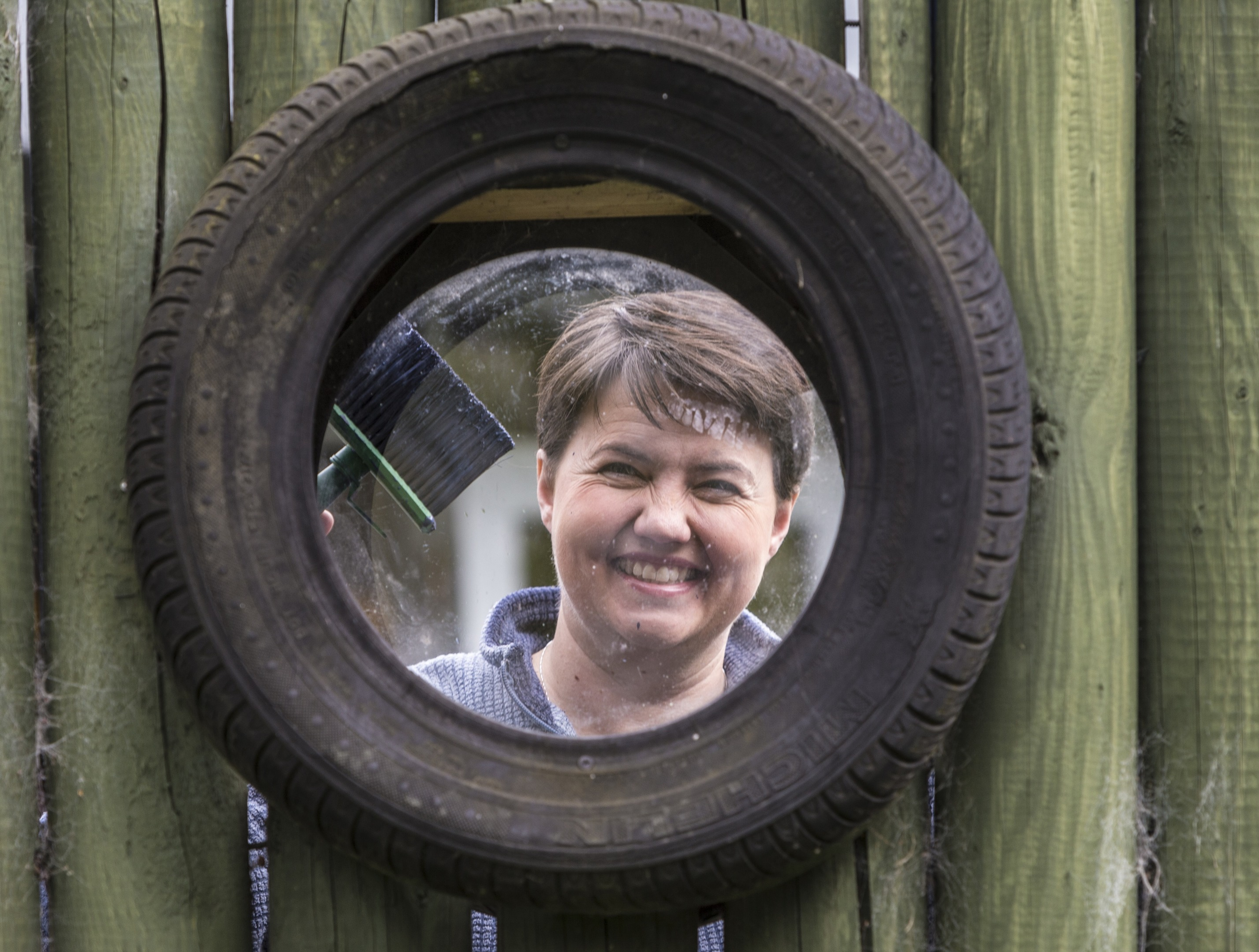 Ruth Davidson at a community playground during the launch of the manifesto