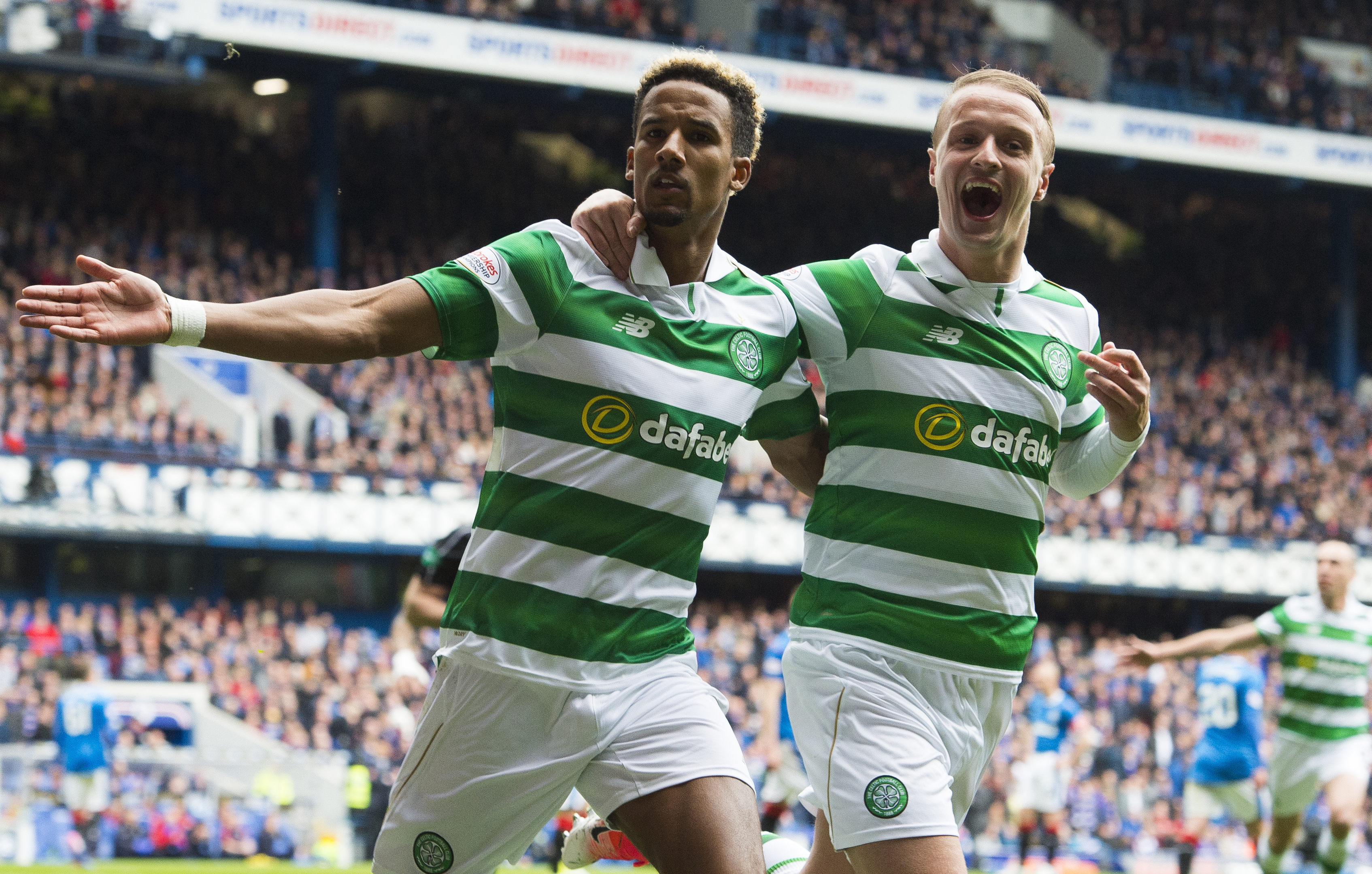 Celtic's Scott Sinclair celebrates with Leigh Griffiths (SNS Group)