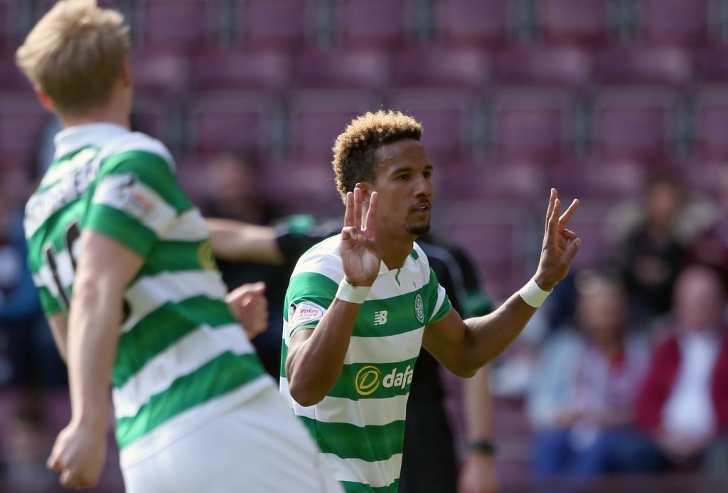 Celtic's Scott Sinclair after completing his hat-trick (Andrew Milligan/PA Wire)