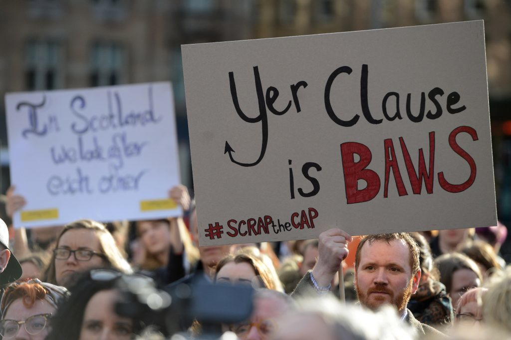 A gathering in George Square, Glasgow, Scotland, against a proposed cut to child benefits by the Westminster government. April 13, 2017. Under the proposal some women would have to prove they were the victim of rape to get some benefits for their child.