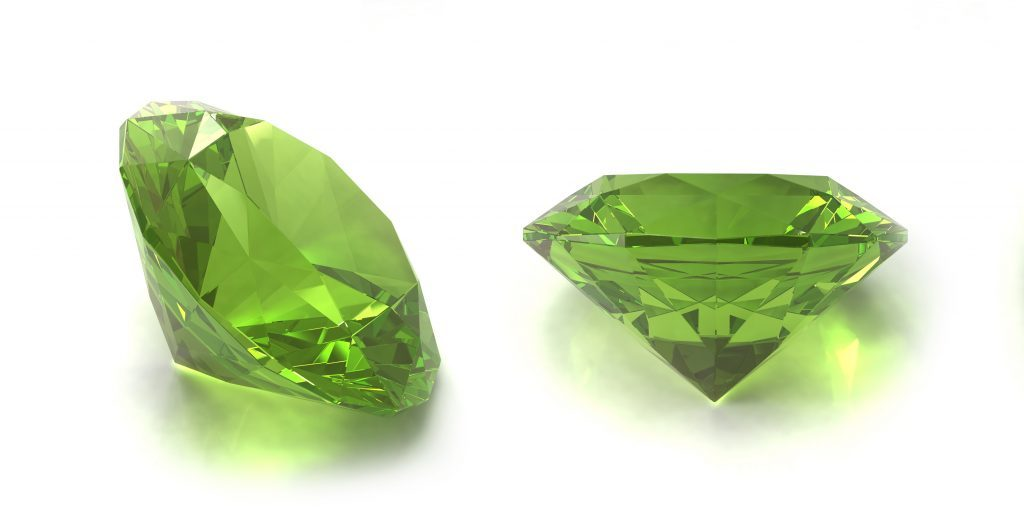 Peridot or chysolite gems
