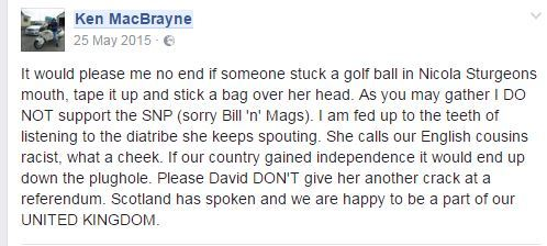 MacBrayne's vile Facebook post