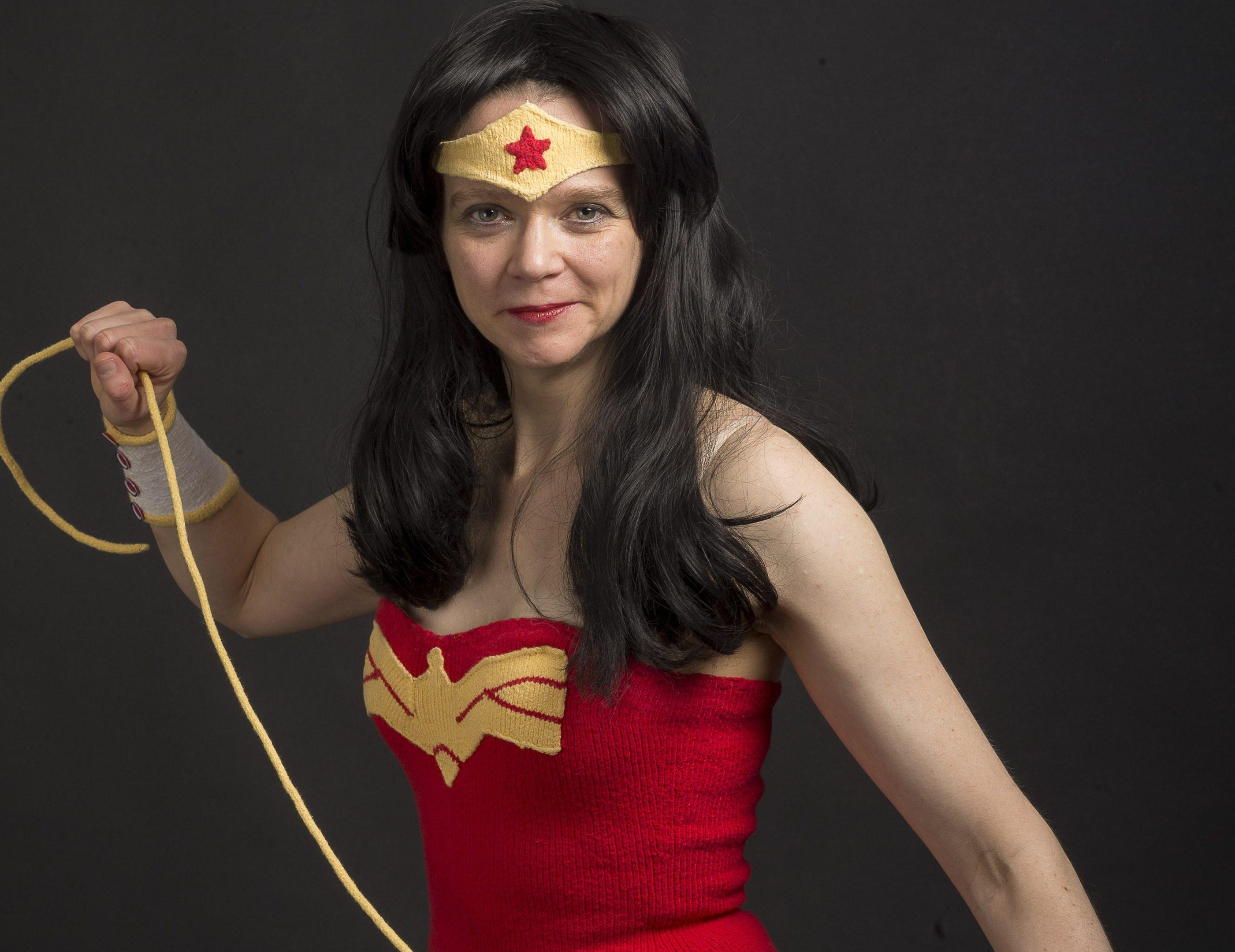 Victoria Noad from Aberdeen who knits super hero costumes. (DEREK IRONSIDE / NEWSLINE MEDIA)