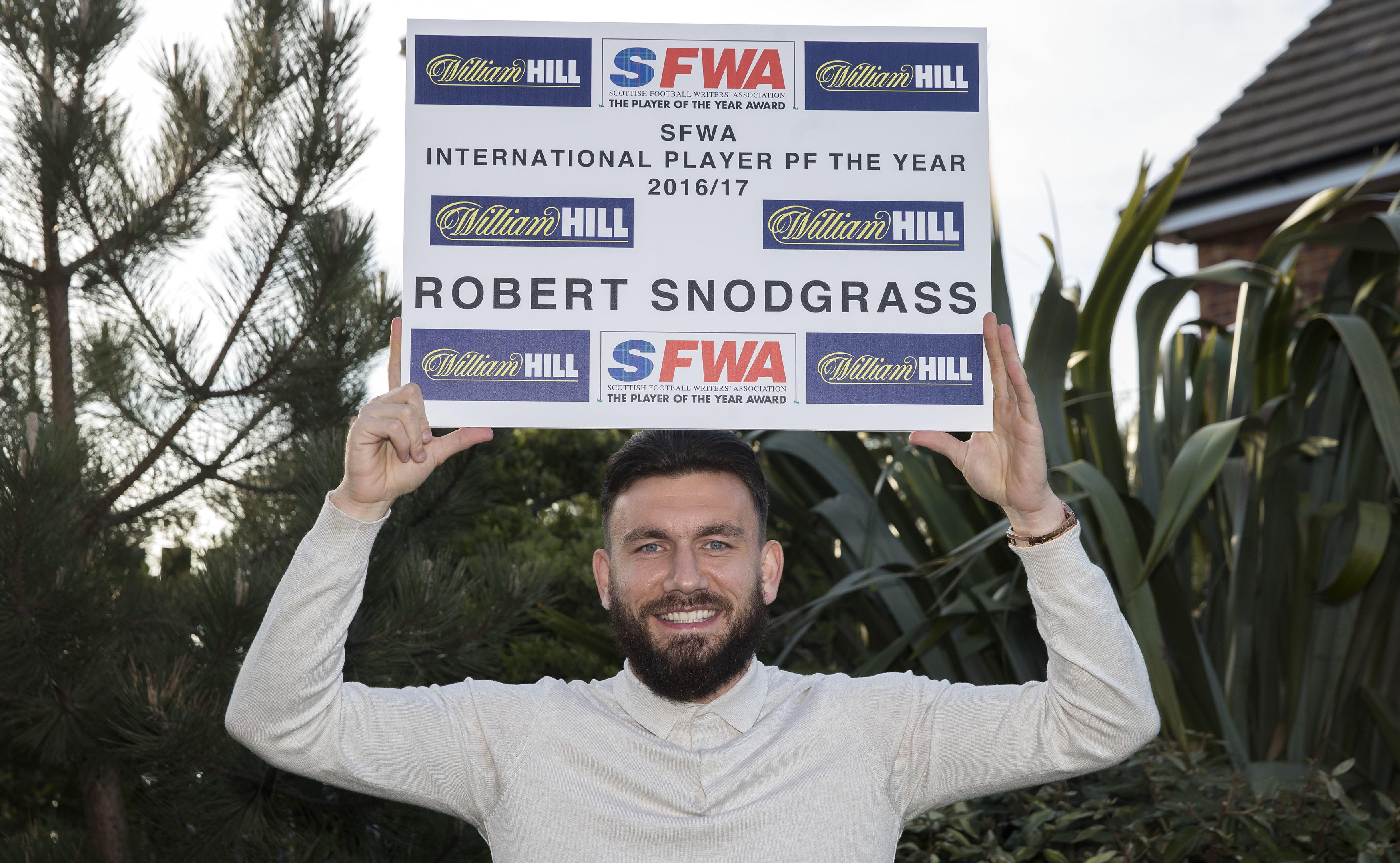 Robert Snodgrass wins the 2017 International Player of The Year (Steve Welsh)