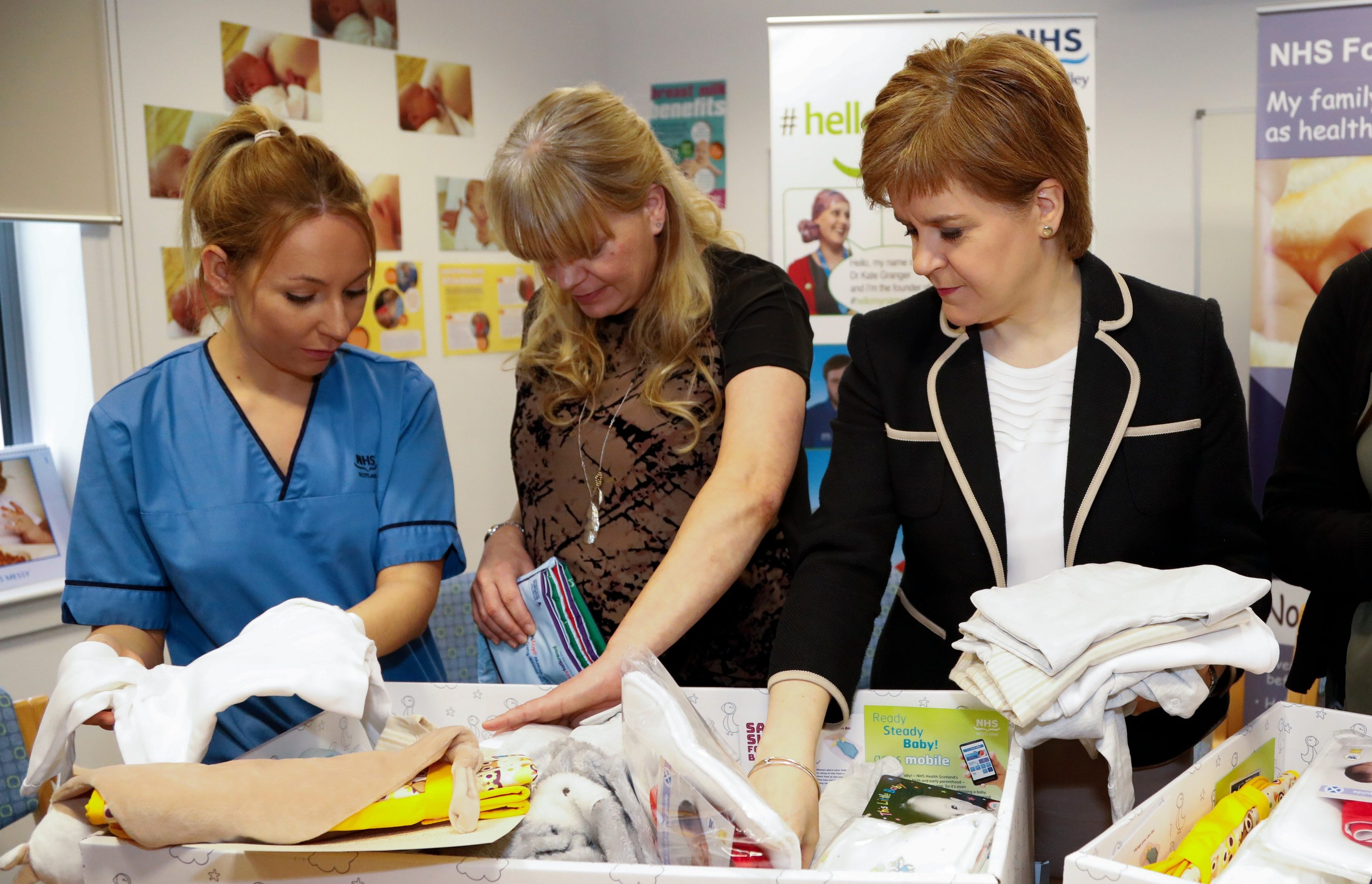 First Minister Nicola Sturgeon with one of the baby boxes