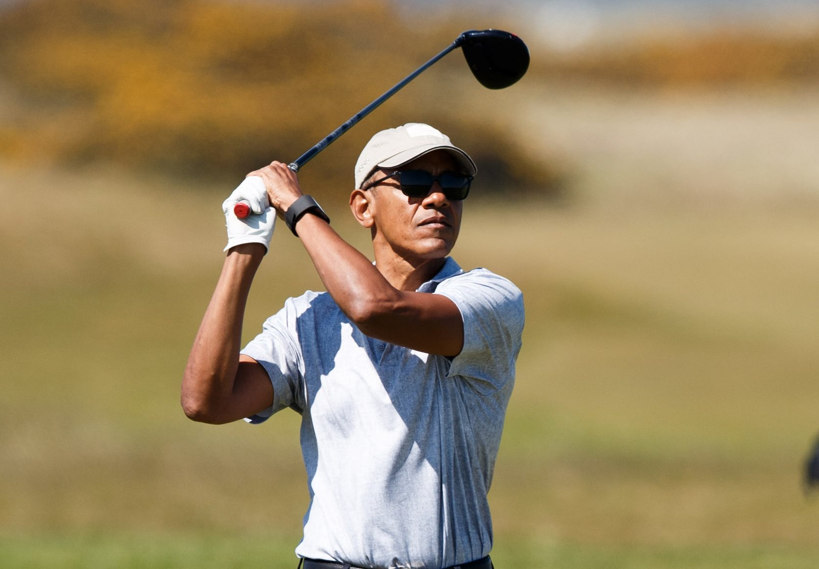 Former United States President Barack Obama plays a round of golf in St Andrews, Scotland. (Robert Perry/Getty Images)