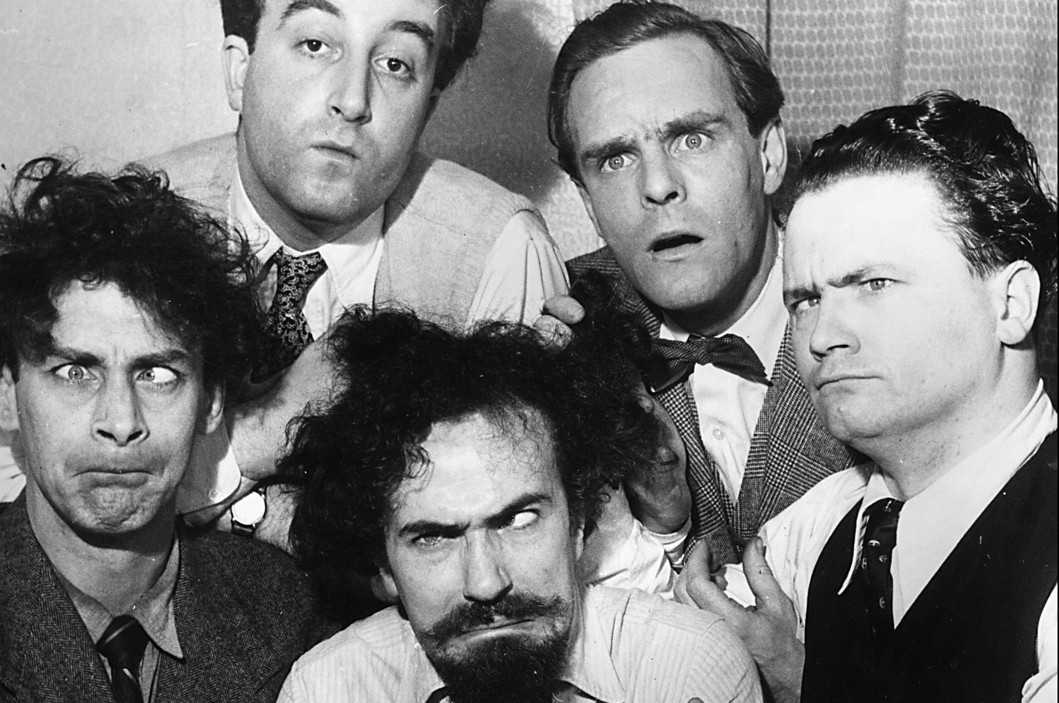 The cast of the British comedy act The Goons included (L-R) Spike Milligan, Peter Sellers, Ian Carmichael, Harry Secombe and Michael Bentine (Getty Images)