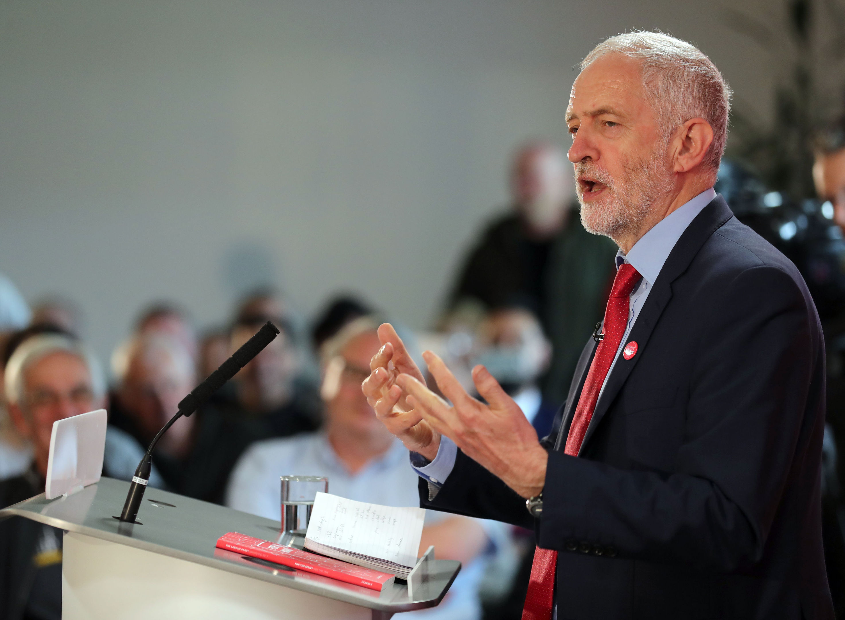 Labour leader Jeremy Corbyn speaks during an election campaign visit to Peterborough United Football Club. (Chris Radburn/PA Wire)
