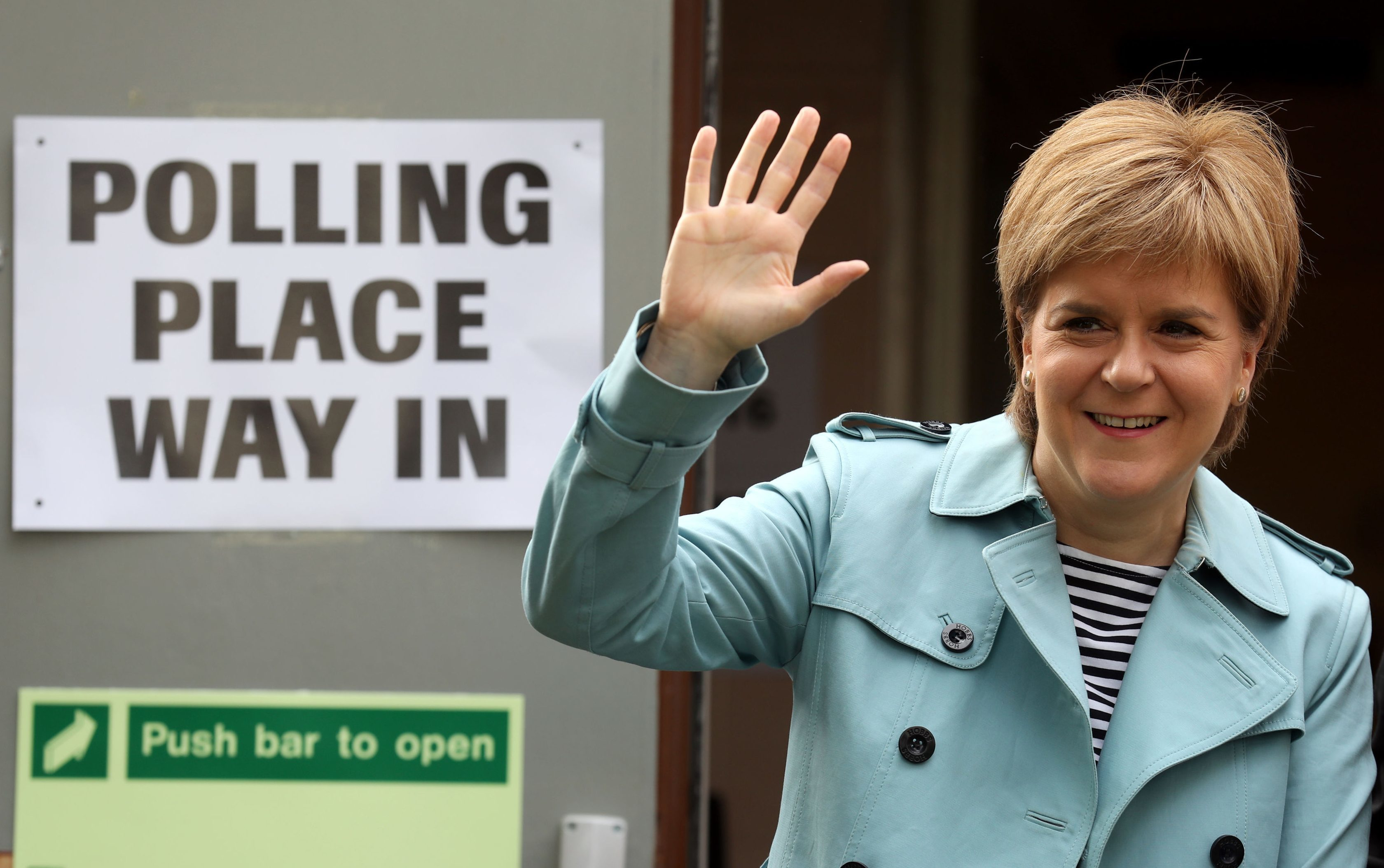 First Minister and SNP Leader Nicola Sturgeon arrives at Broomhouse Community Hall polling station in Glasgow (Andrew Milligan/PA Wire)