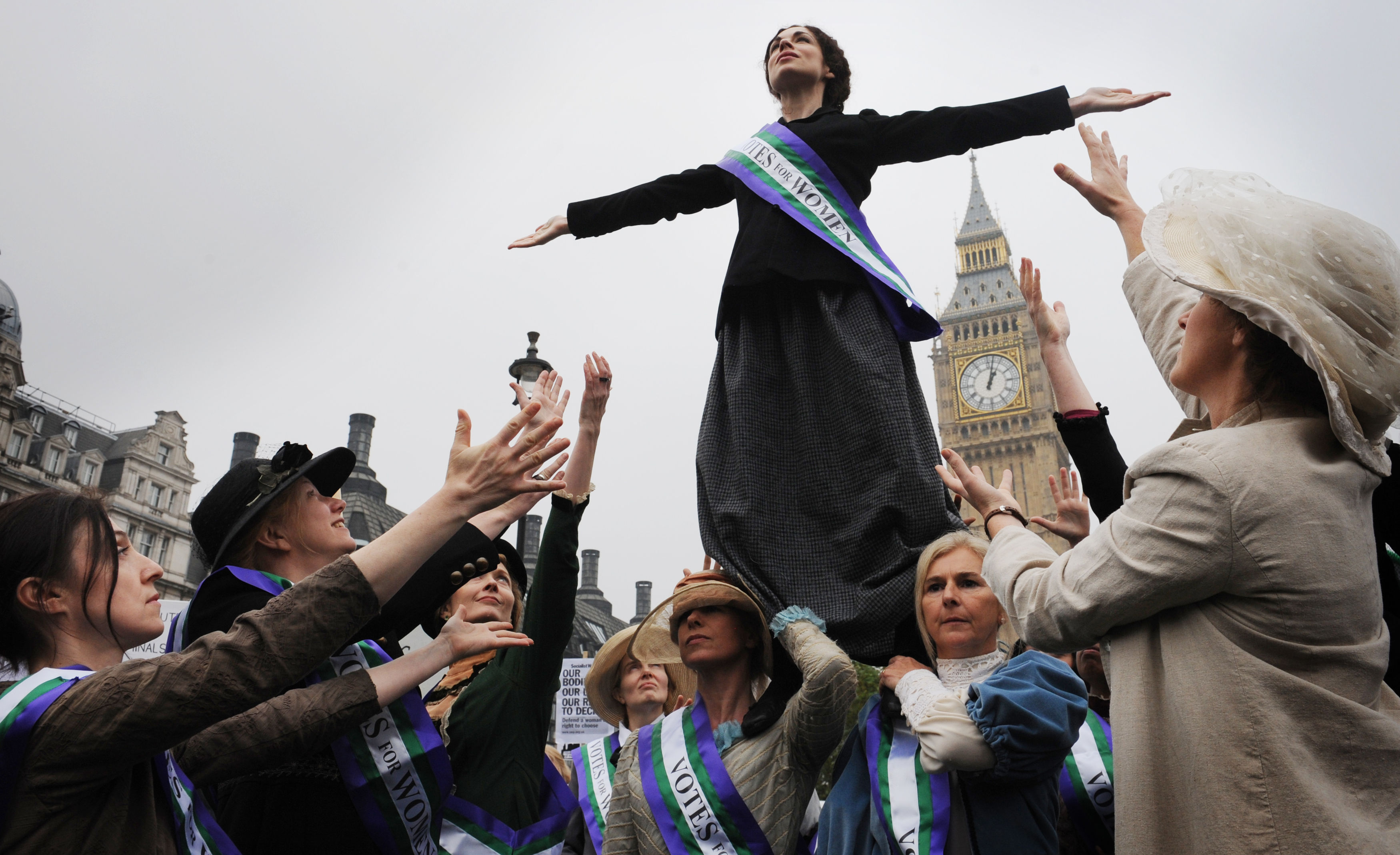 The UK Feminista's mass feminist lobby of Parliament takes place in Westminster, London (Stefan Rousseau / PA)
