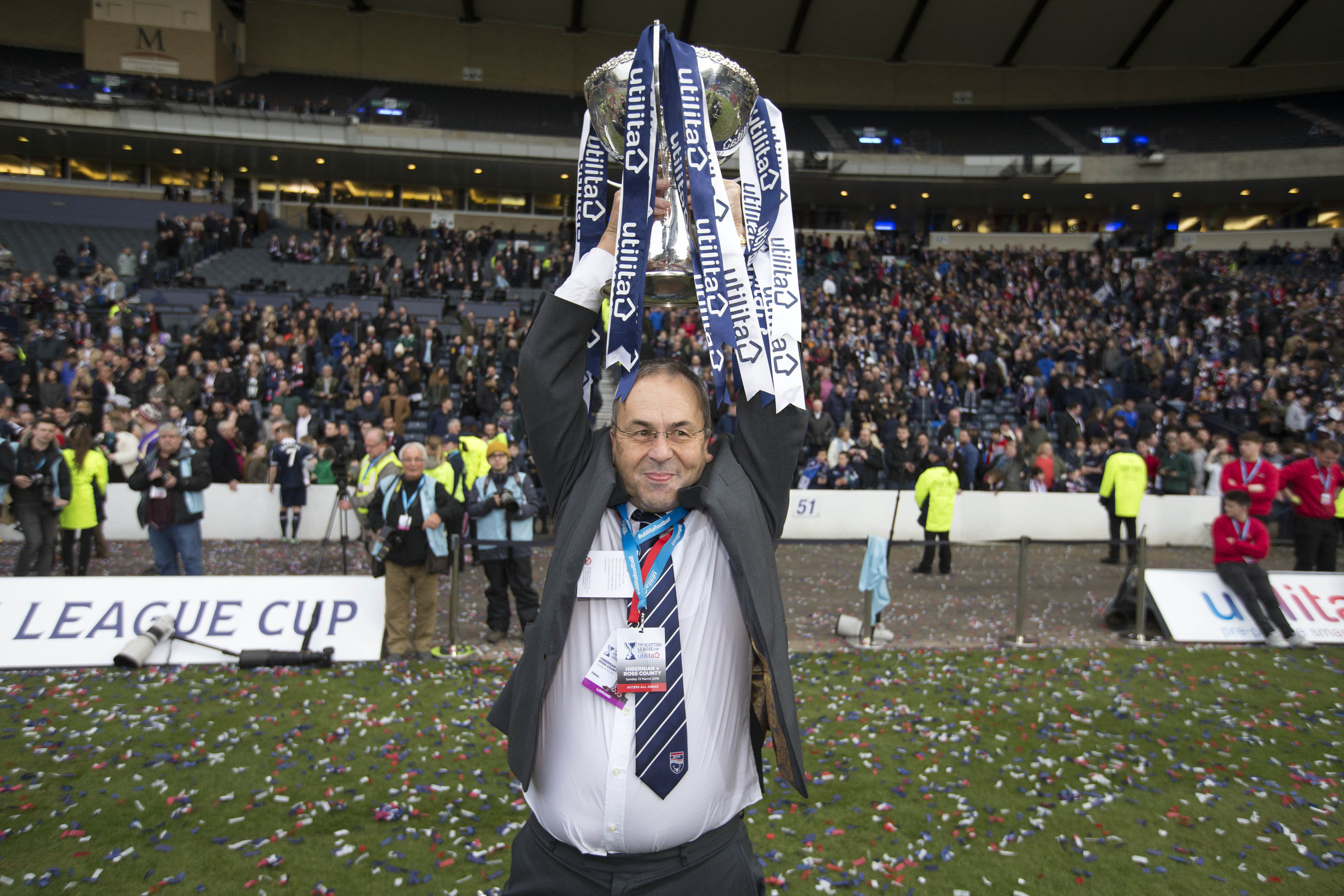 Ross County chairman Roy McGregor celebrates with the trophy after winning the Scottish League Cup Final at Hampden Park, Glasgow (PA)